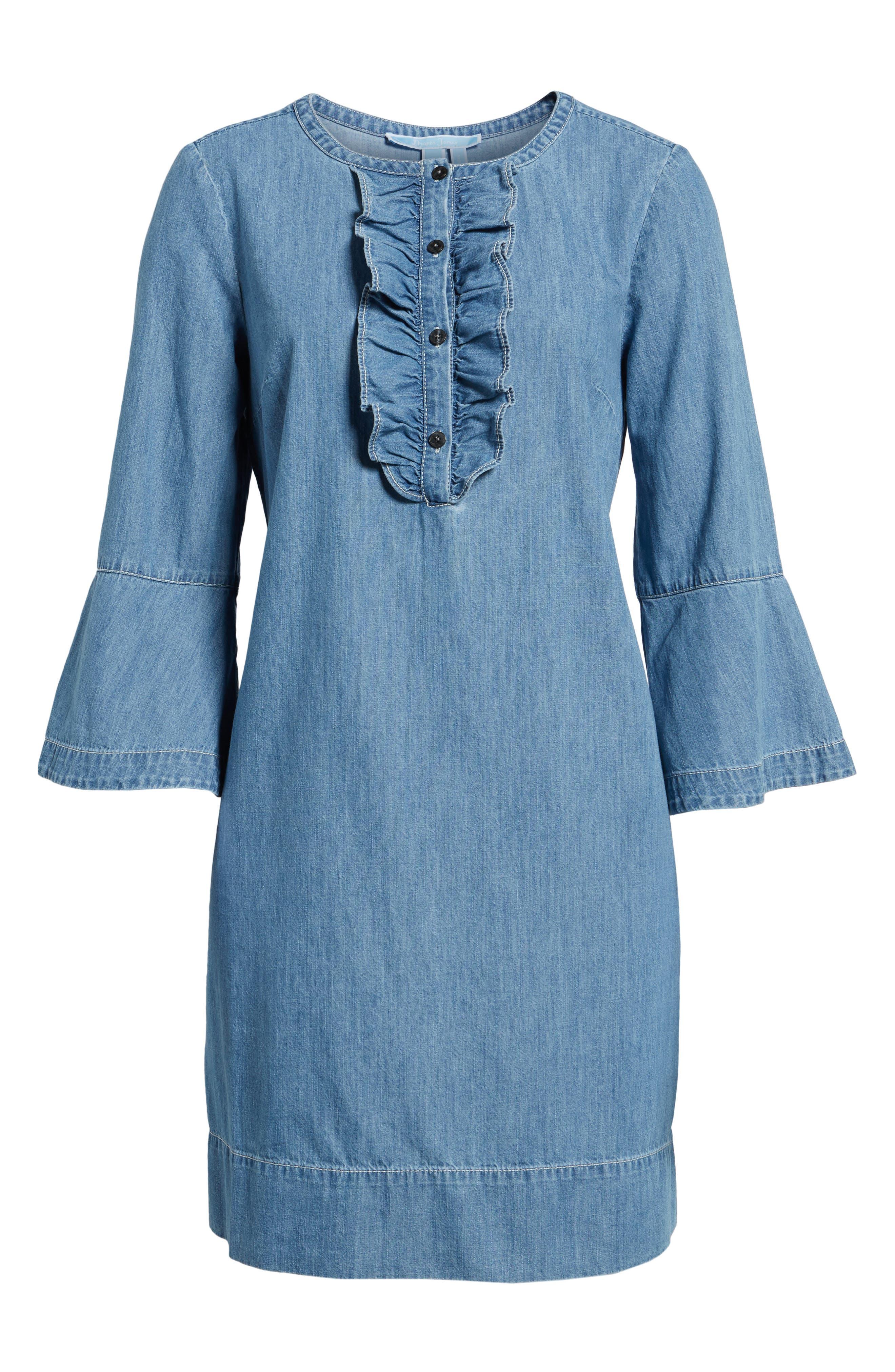 Chambray Ruffle Shift Dress,                             Alternate thumbnail 6, color,                             455