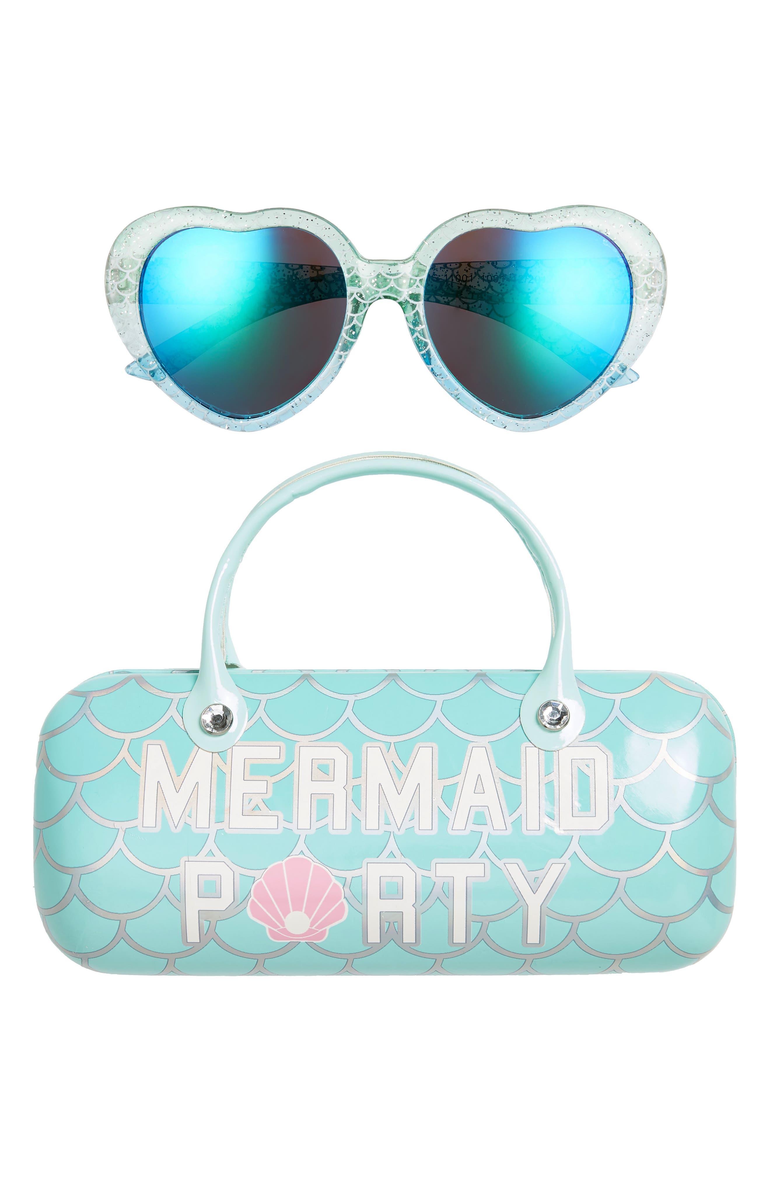 Girls Capelli New York Mermaid Party Mirrored Heart Sunglasses  Hard Case Set  Multi Combo