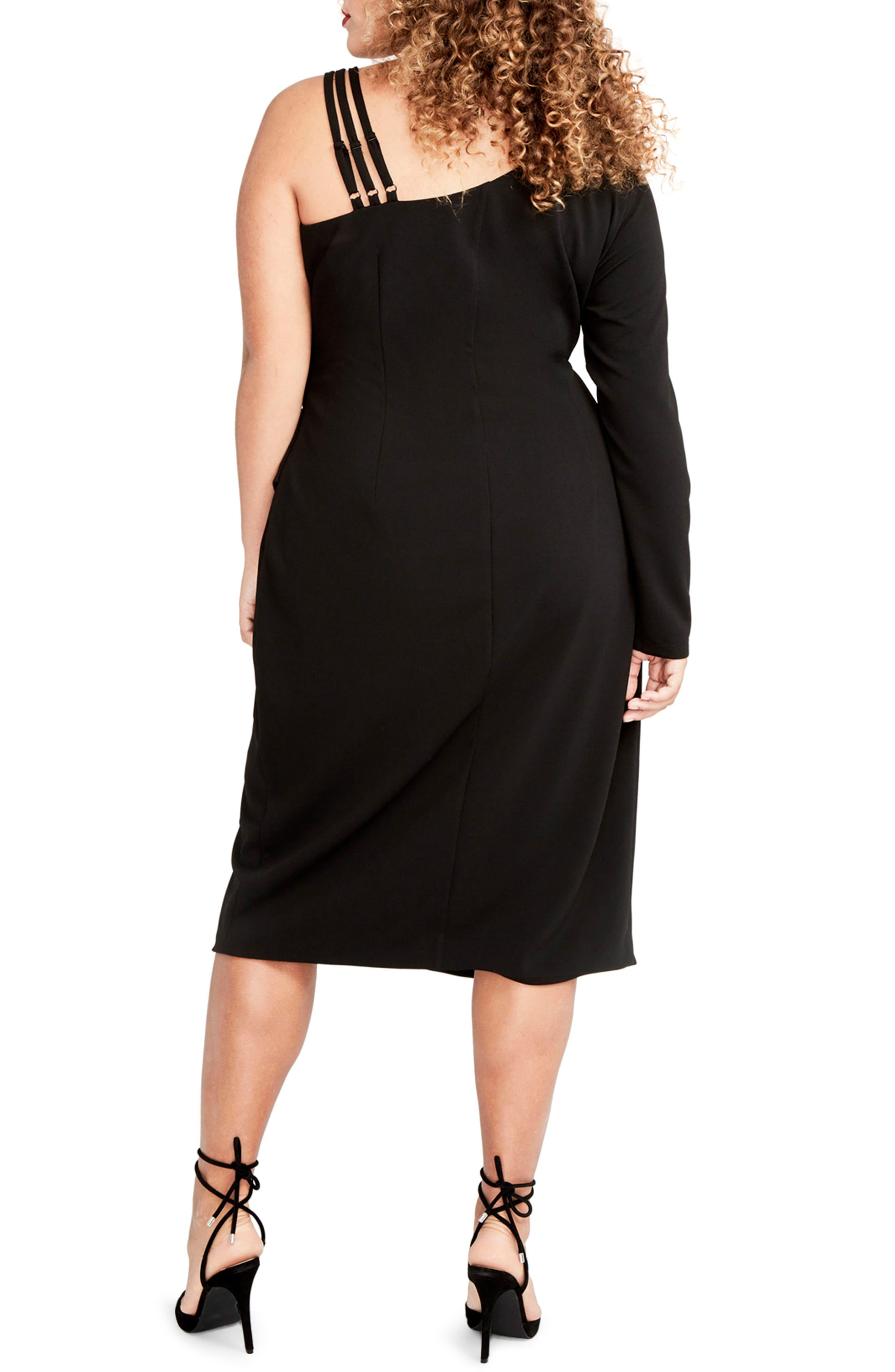 Asymmetrical Faux Wrap Dress,                             Alternate thumbnail 2, color,                             001