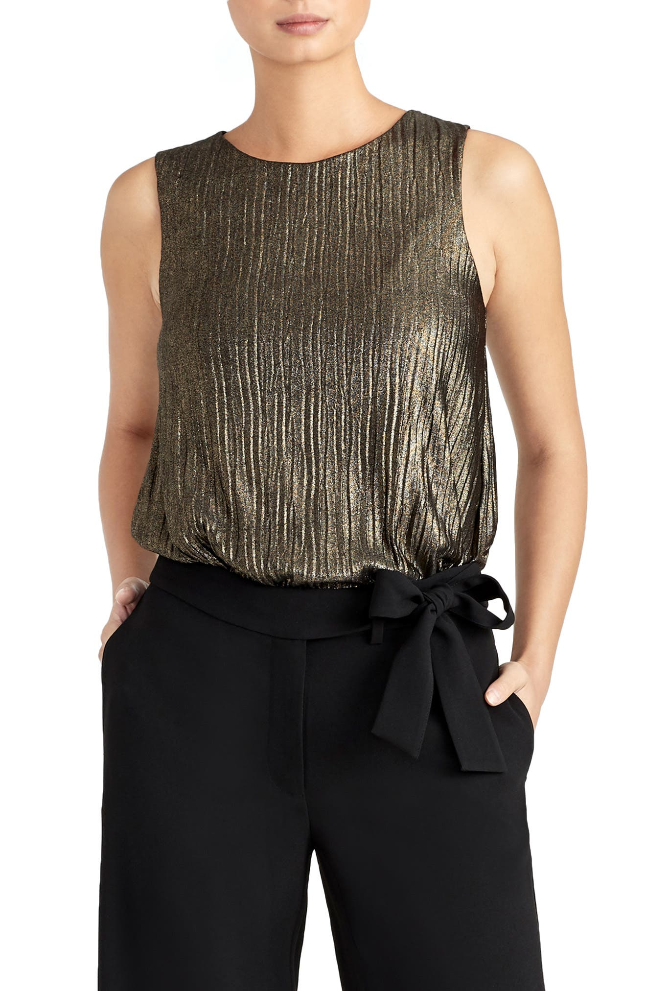 Pleated Metallic Tank,                             Main thumbnail 1, color,                             BLACK/ GOLD