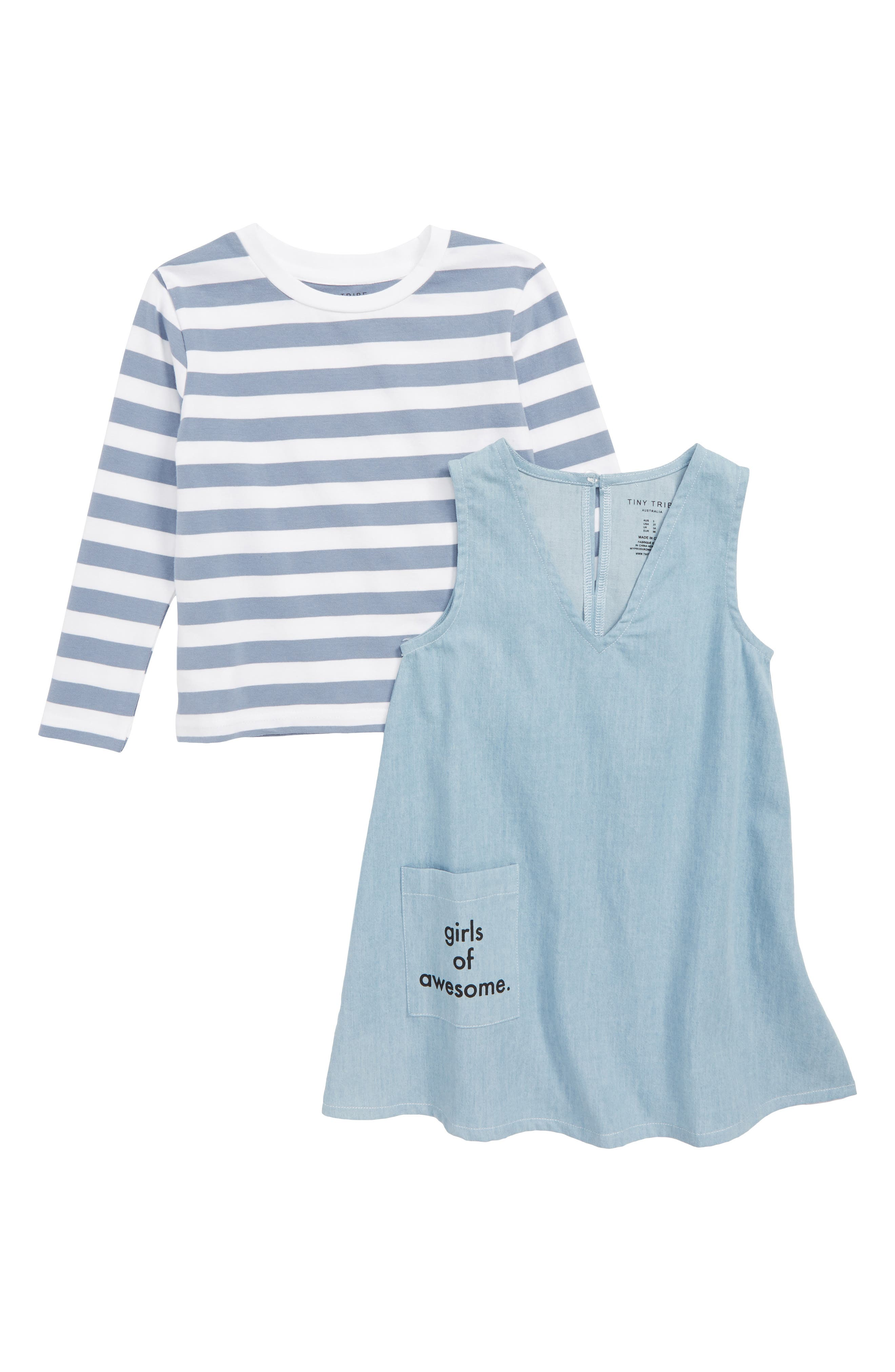 Girls of Awesome Tee & Dress Set,                         Main,                         color, BLUE / CHAMBRAY