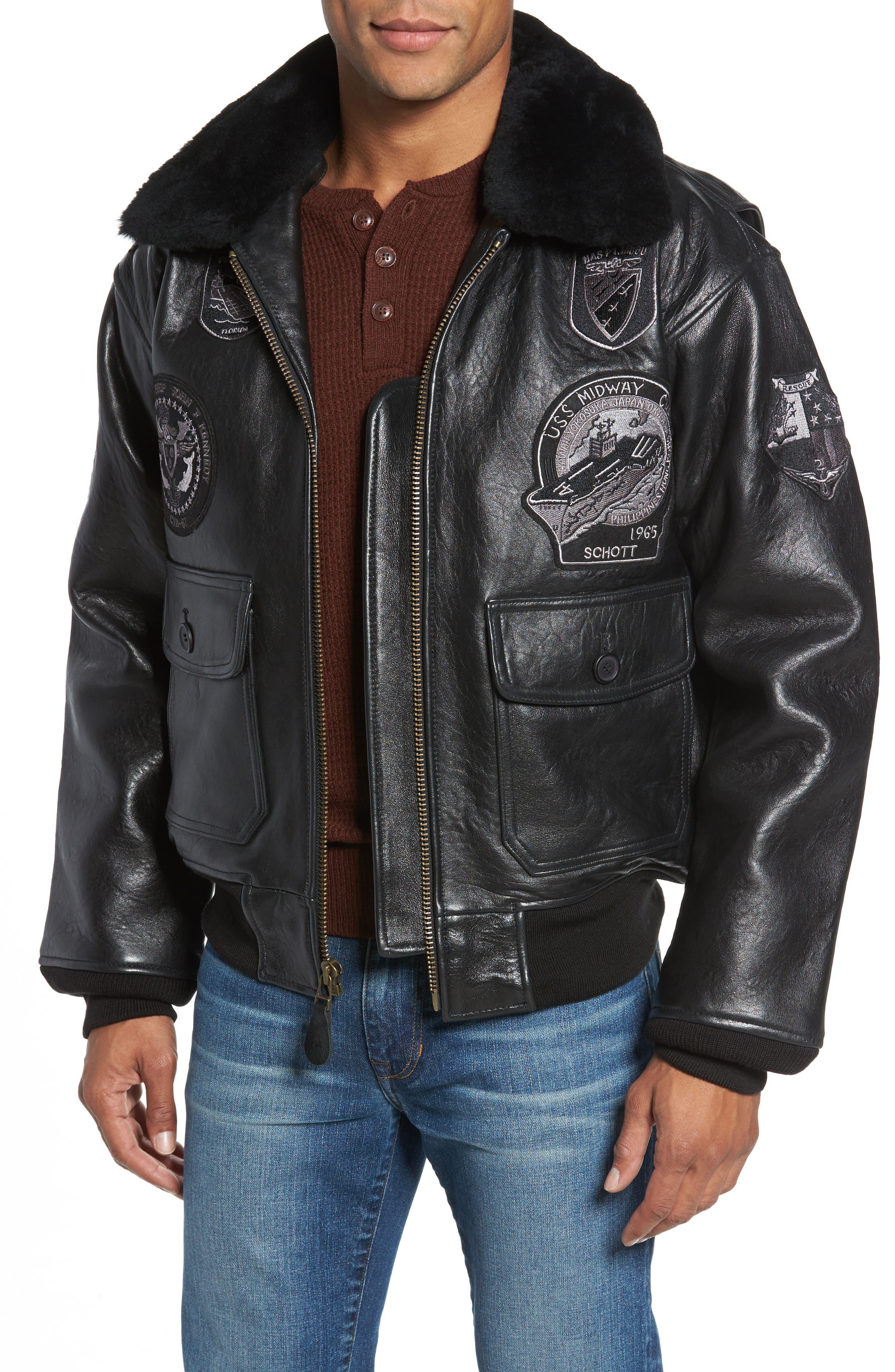 SCHOTT NYC Genuine Shearling Collar G-1 Flight Jacket, Main, color, BLACK