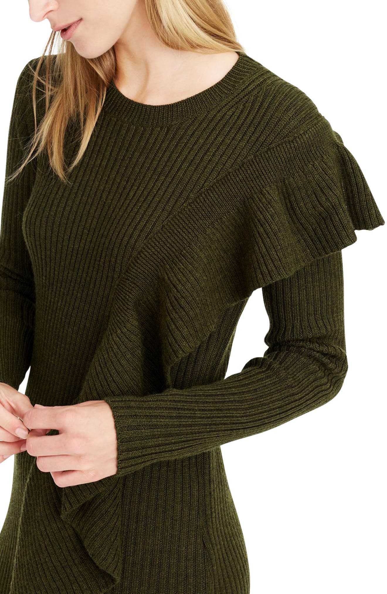 Collection Ruffle-Front Sweater Dress,                             Alternate thumbnail 4, color,                             300