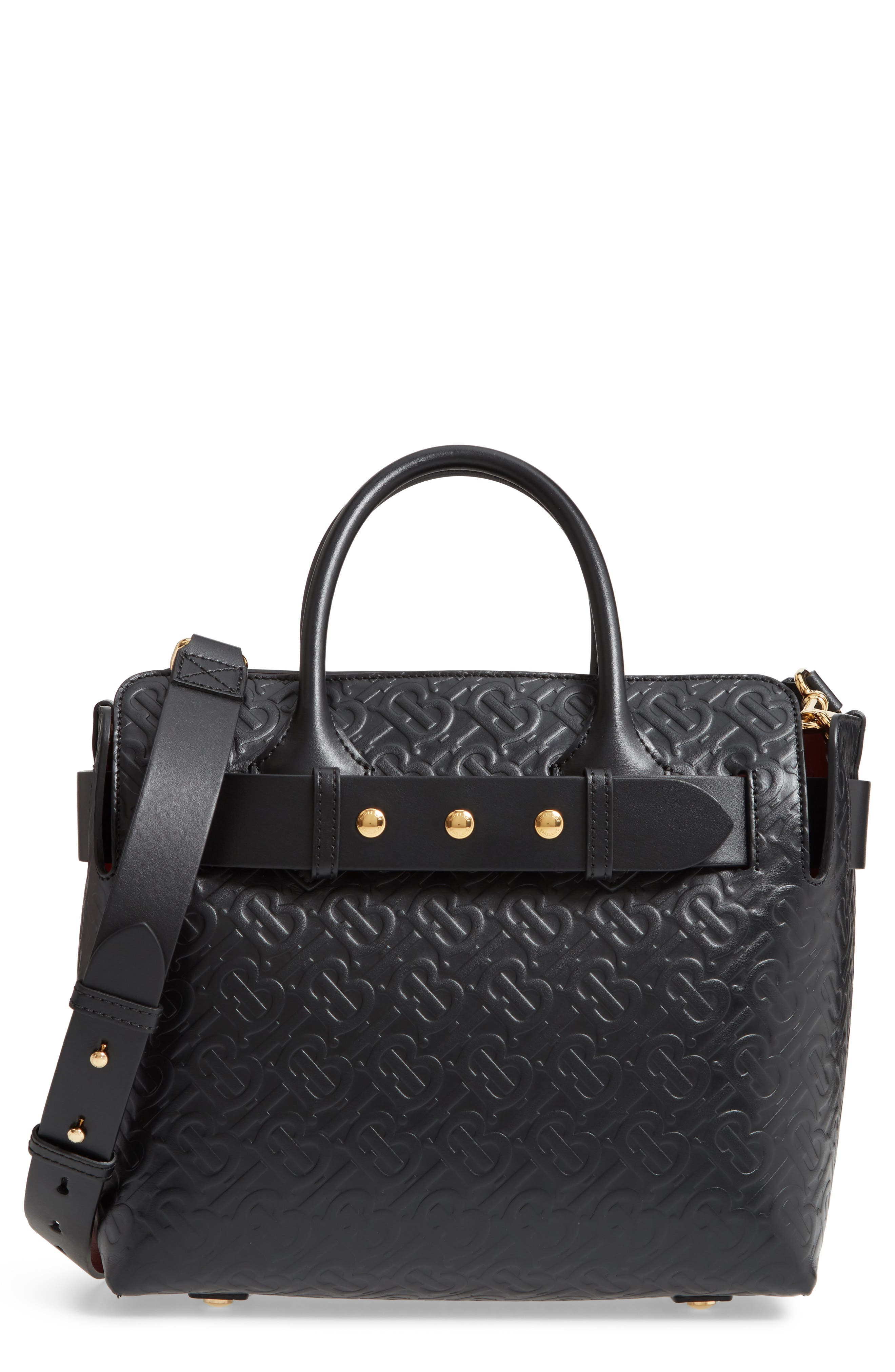 BURBERRY,                             Small Belt Embossed Logo Leather Satchel,                             Main thumbnail 1, color,                             BLACK