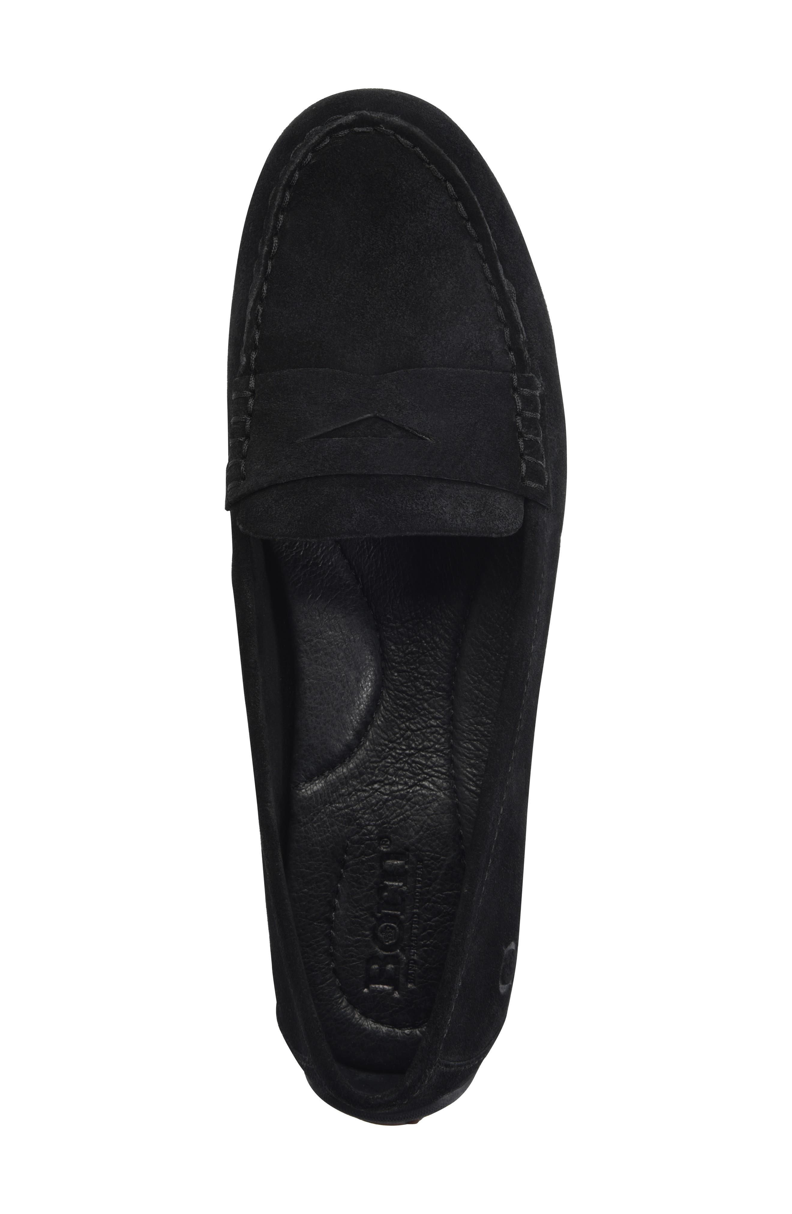Malena Penny Loafer,                             Alternate thumbnail 5, color,                             BLACK SUEDE