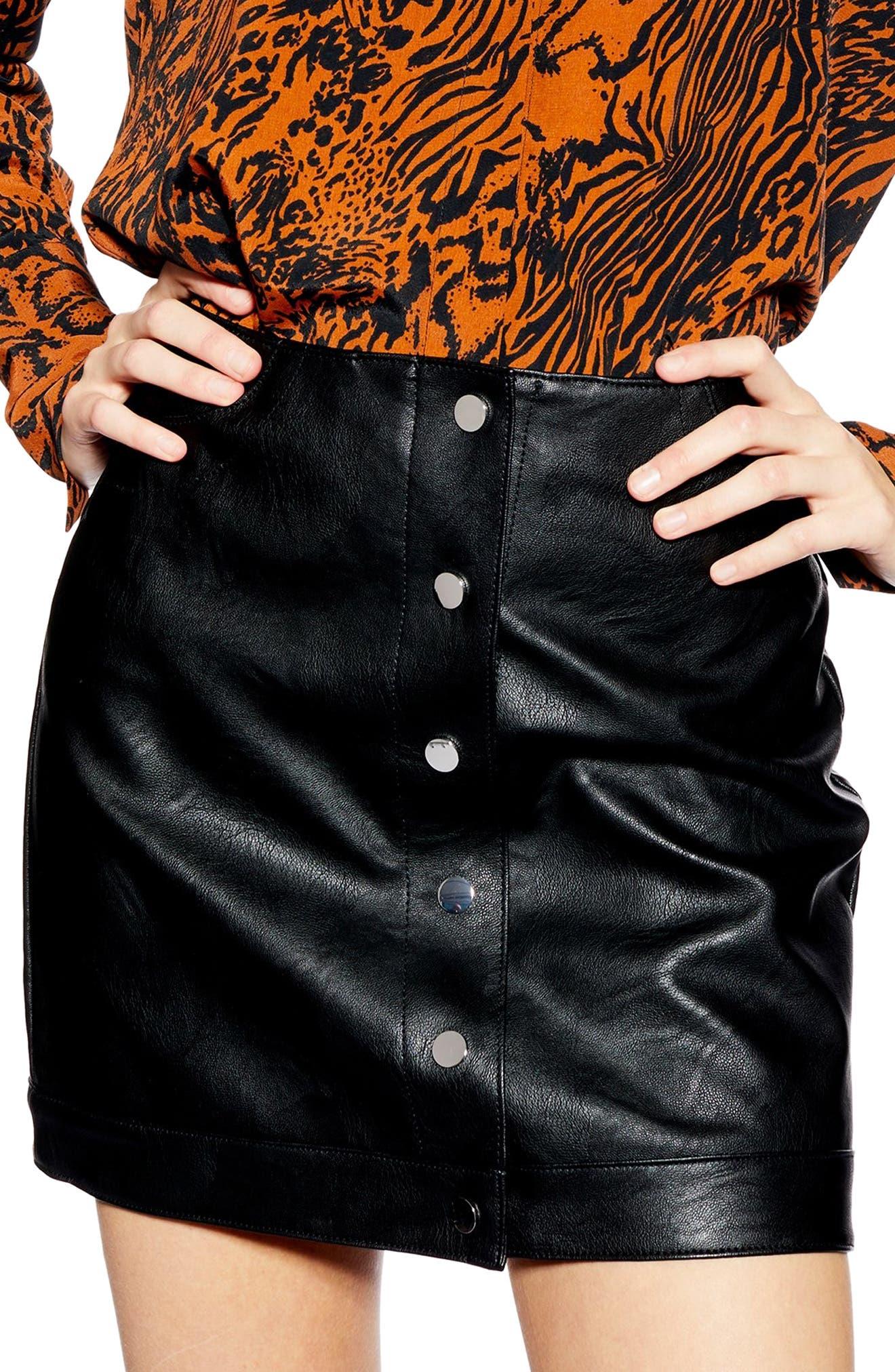 Dixie Faux Leather Miniskirt,                             Alternate thumbnail 3, color,                             BLACK
