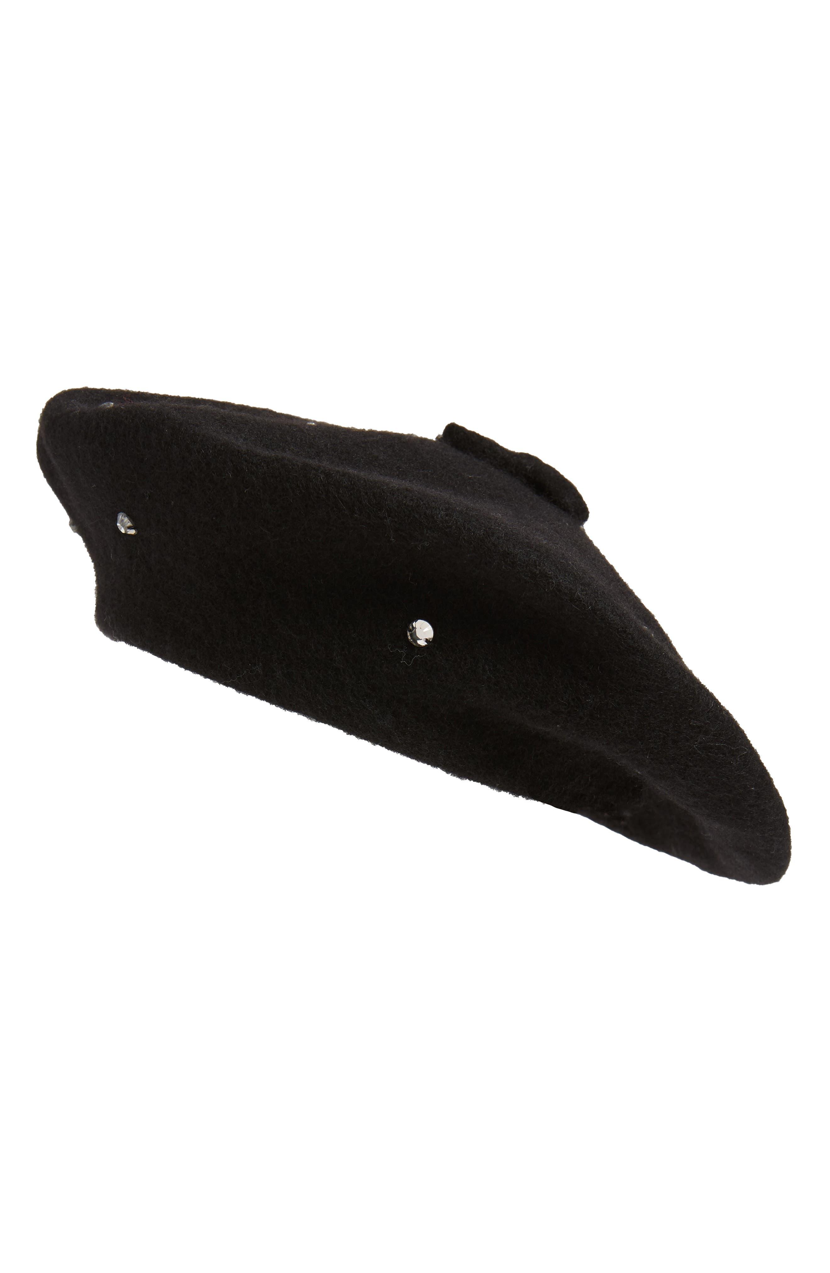 KATE SPADE NEW YORK,                             bedazzled felt beret,                             Main thumbnail 1, color,                             BLACK/ SMOKE