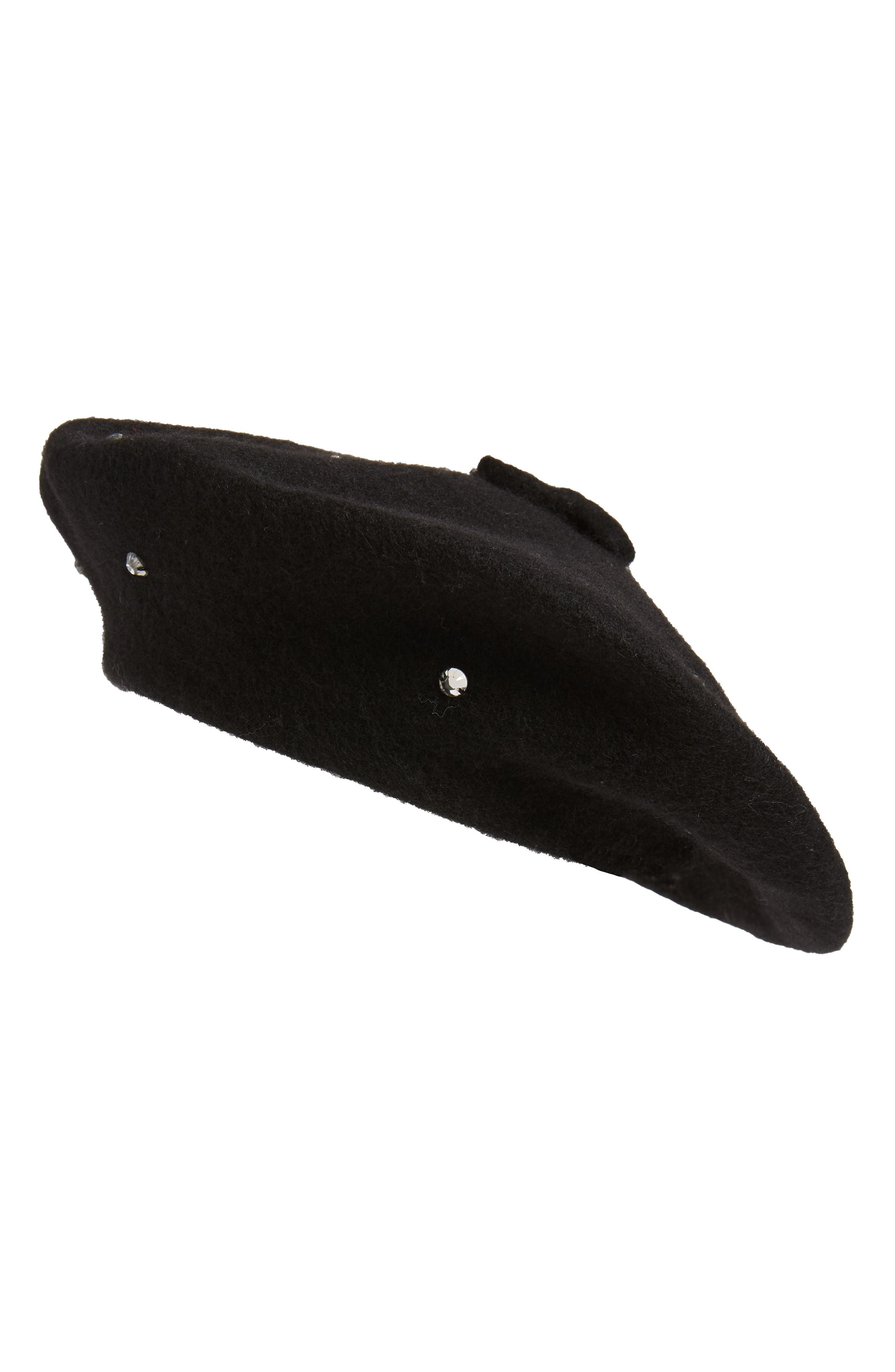 KATE SPADE NEW YORK bedazzled felt beret, Main, color, BLACK/ SMOKE