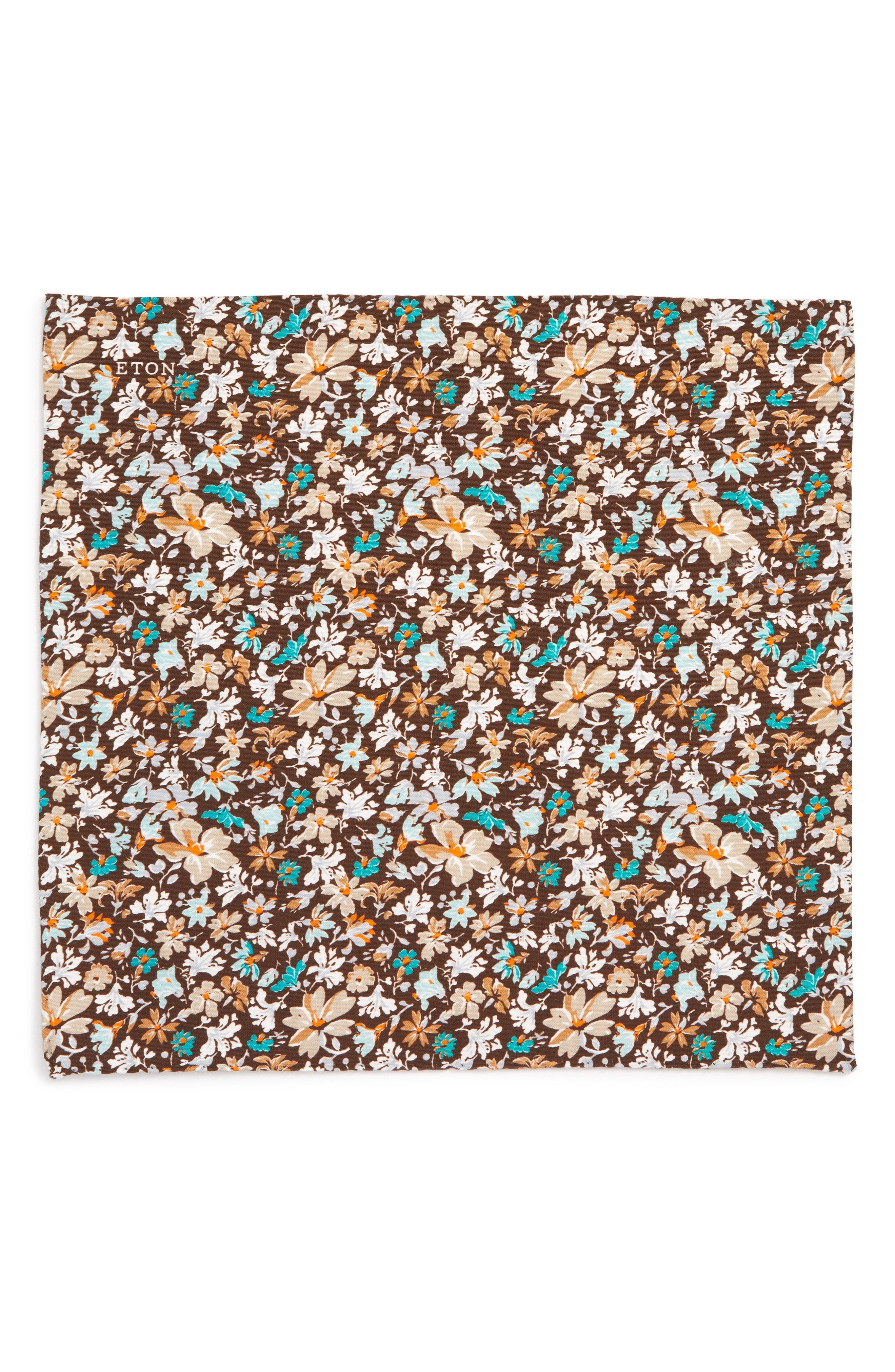 Floral Cotton & Silk Pocket Square,                             Alternate thumbnail 2, color,                             BROWN