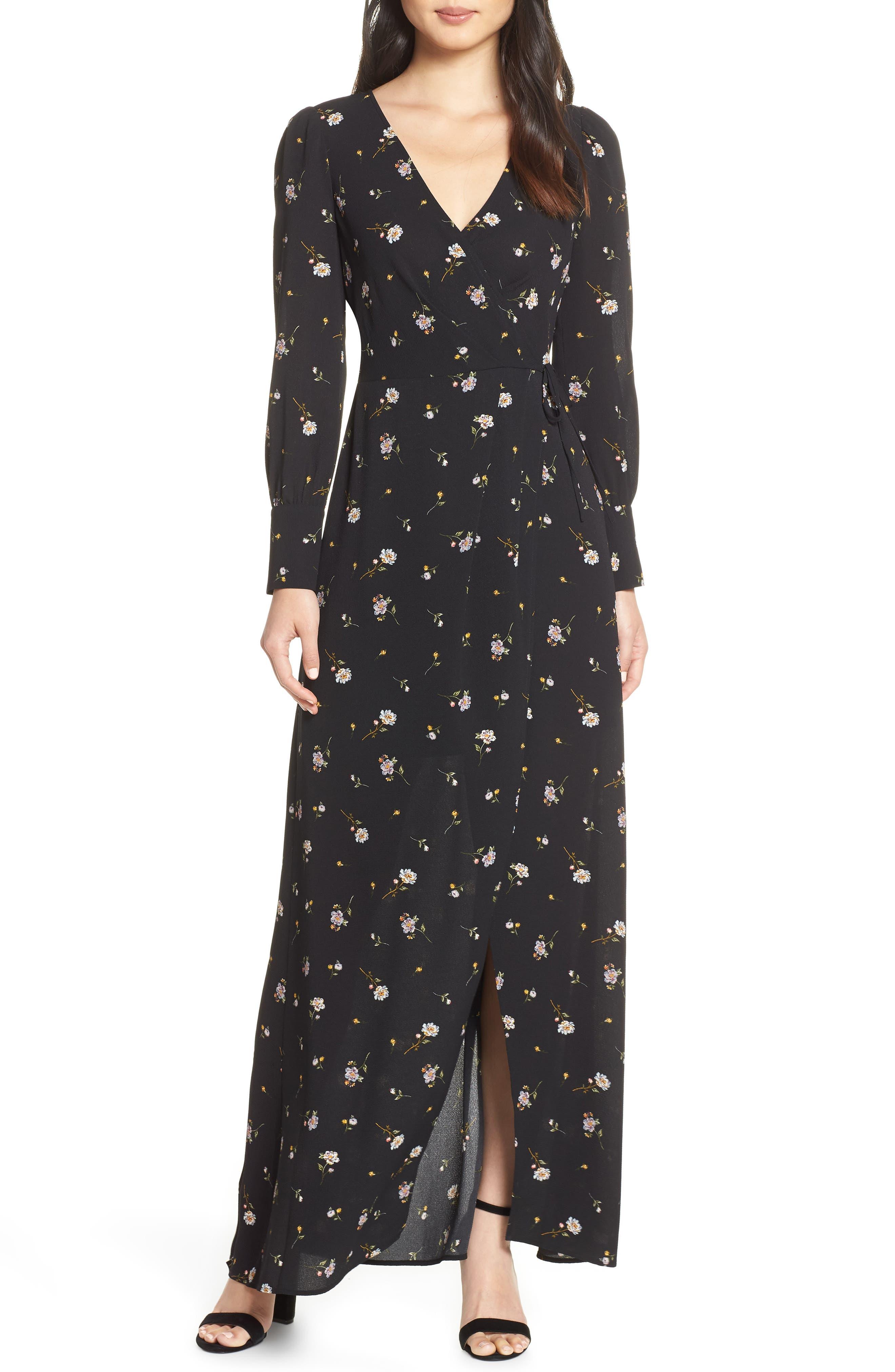 Ali & Jay Garden Stroll Wrap Maxi Dress, Black