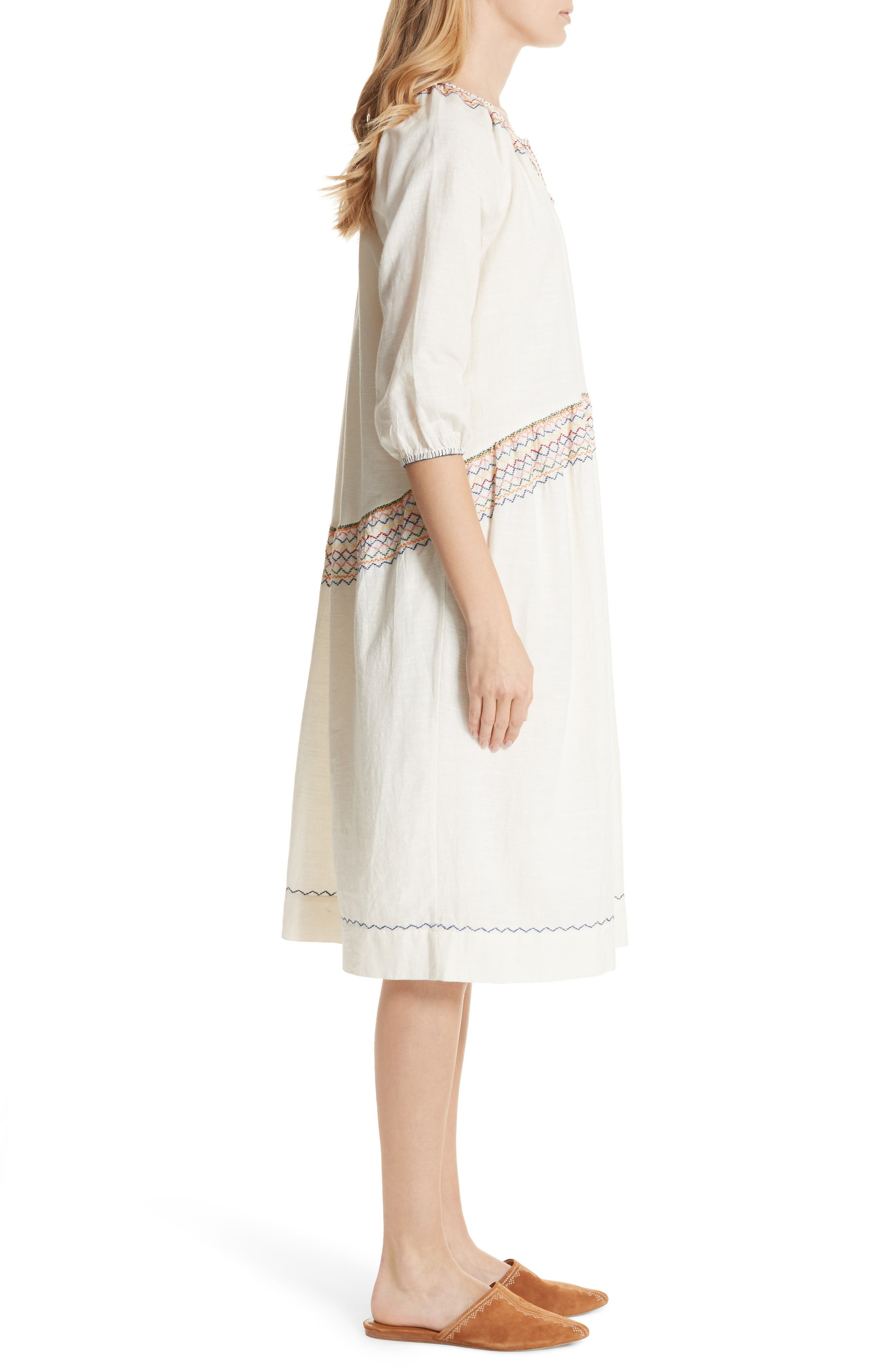 The Siesta Embroidered Dress,                             Alternate thumbnail 3, color,                             100