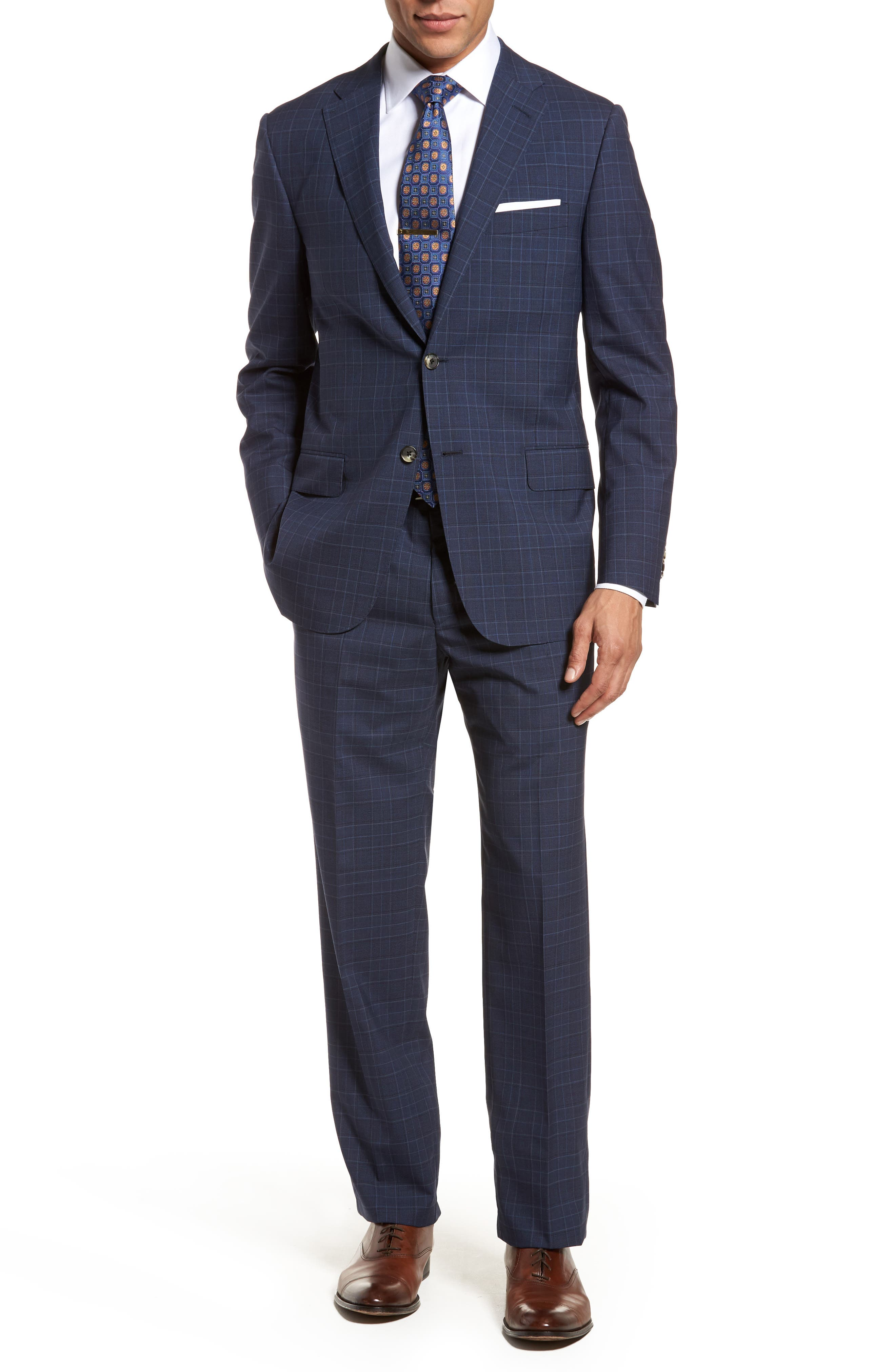 HICKEY FREEMAN,                             Classic B Fit Plaid Wool Suit,                             Main thumbnail 1, color,                             400