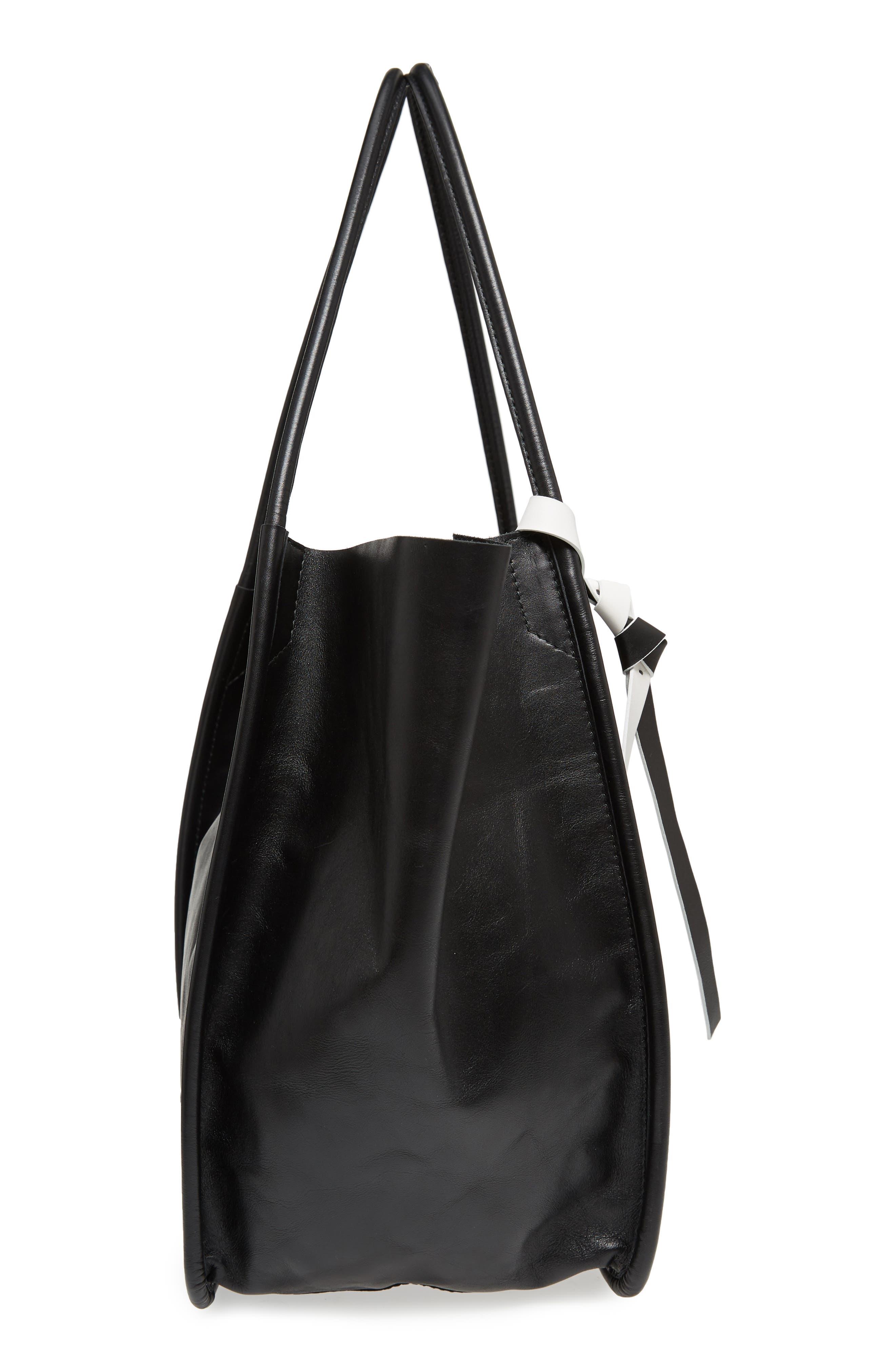 Large Calfskin Leather Tote,                             Alternate thumbnail 5, color,                             BLACK
