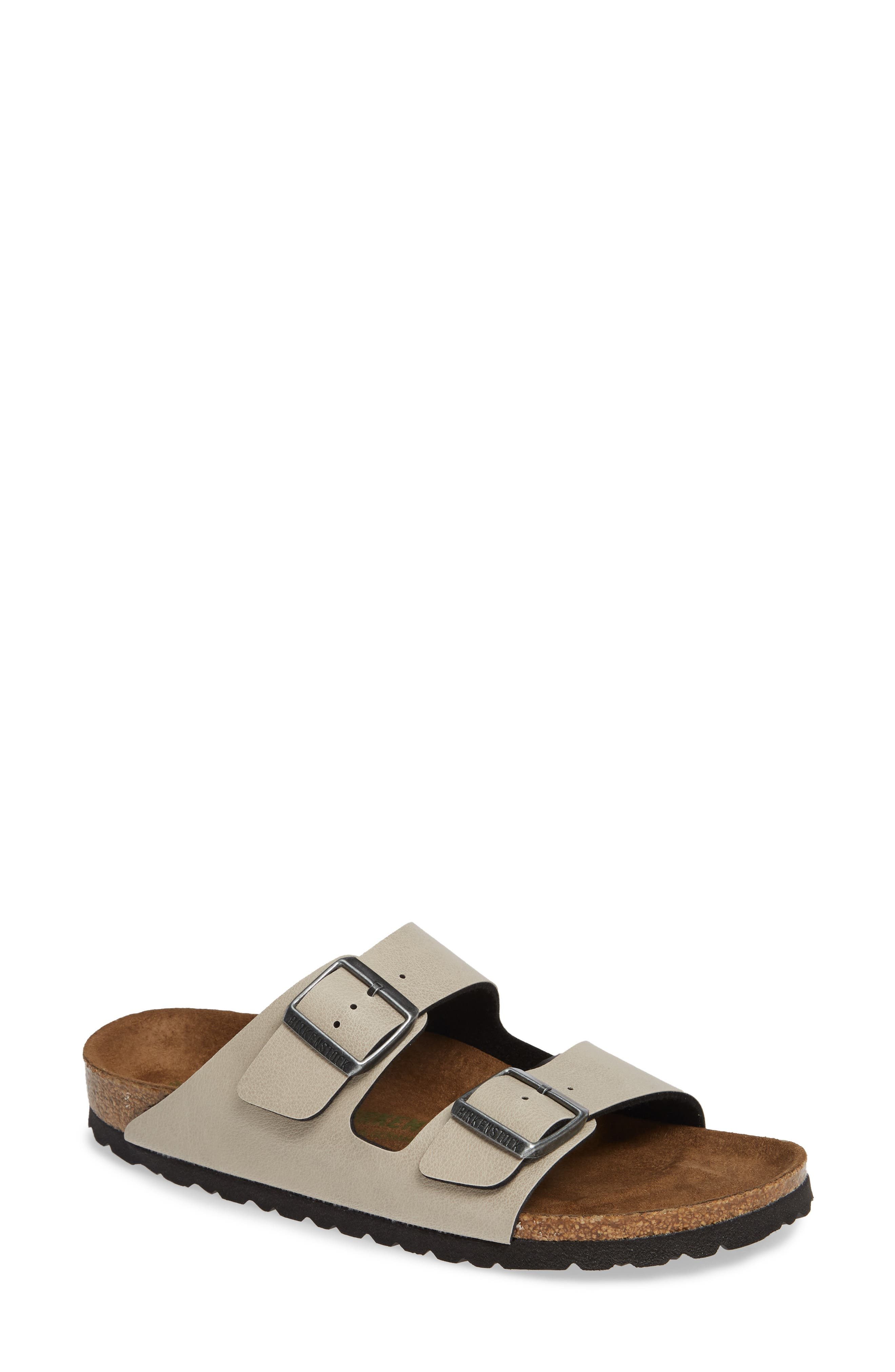 Arizona Birko-Flor<sup>™</sup> Slide Sandal,                             Main thumbnail 1, color,                             PULL UP STONE FAUX LEATHER