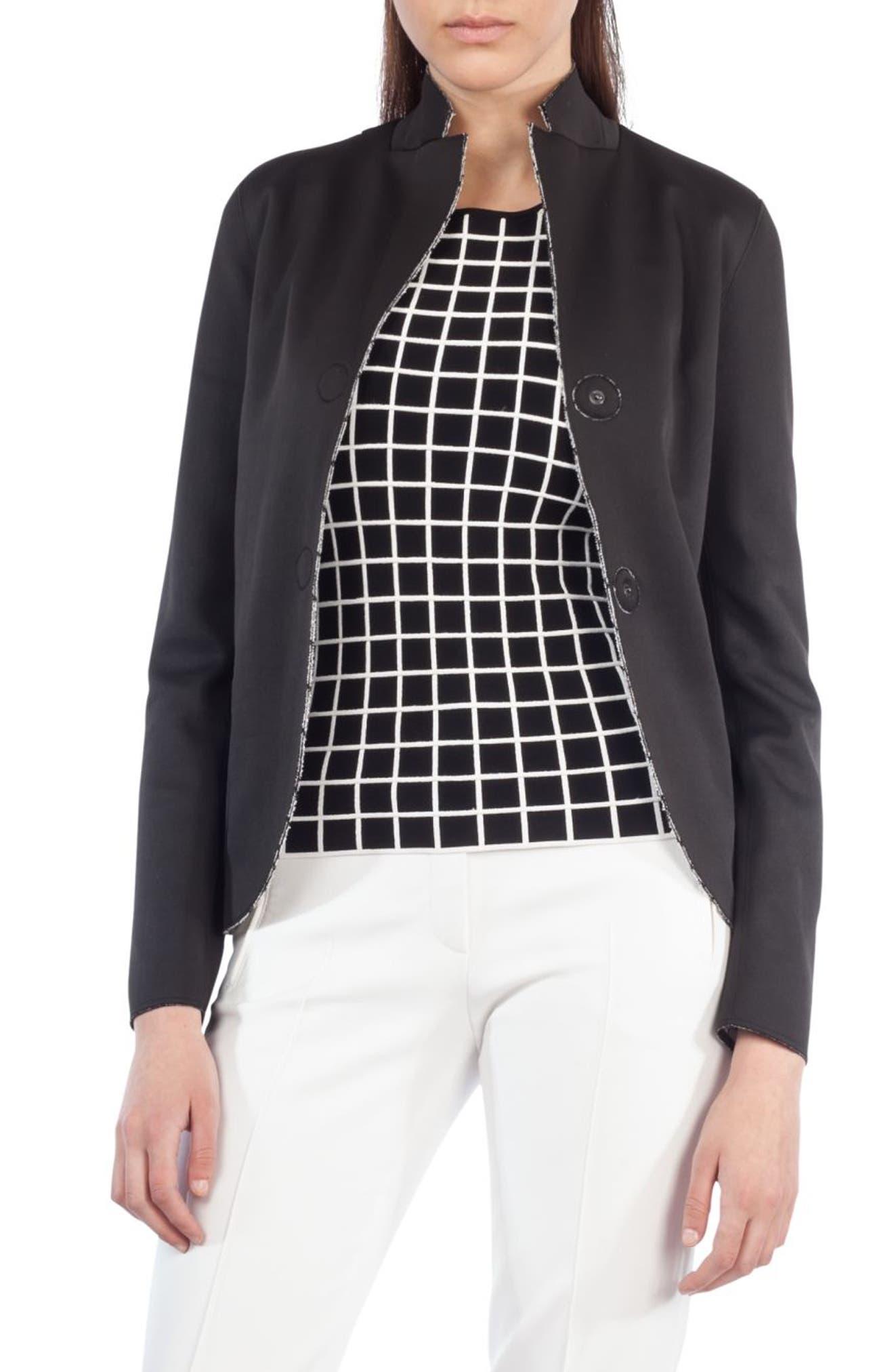 AKRIS PUNTO Grid Print Reversible Blazer, Main, color, 019