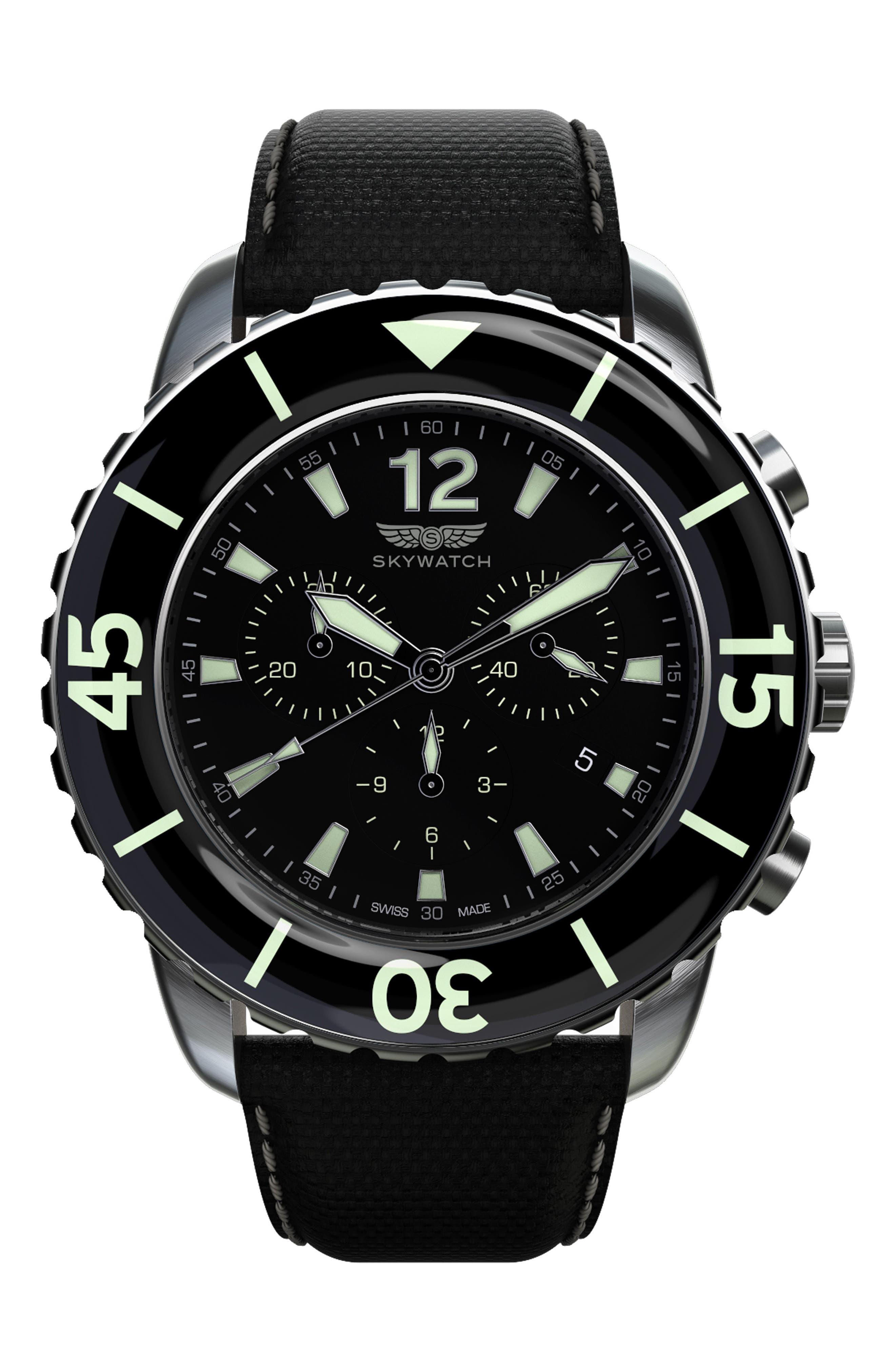 Classic Chronograph Woven Strap Watch, 46mm,                             Main thumbnail 1, color,                             BLACK/ BLACK