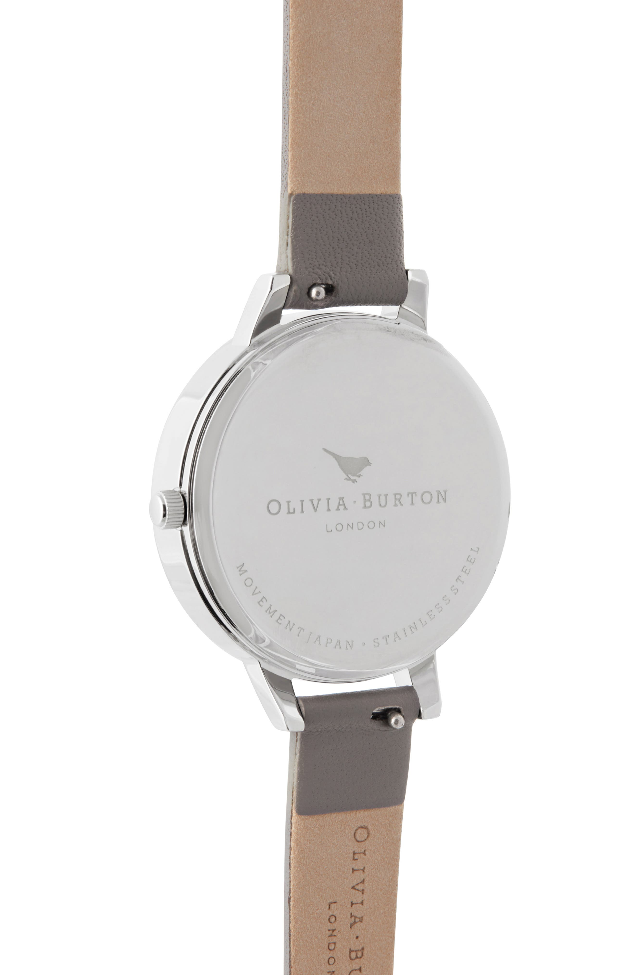 Celestial Leather Strap Watch, 34mm,                             Alternate thumbnail 3, color,                             LOND GREY/ FLORAL GLIT/SILVER