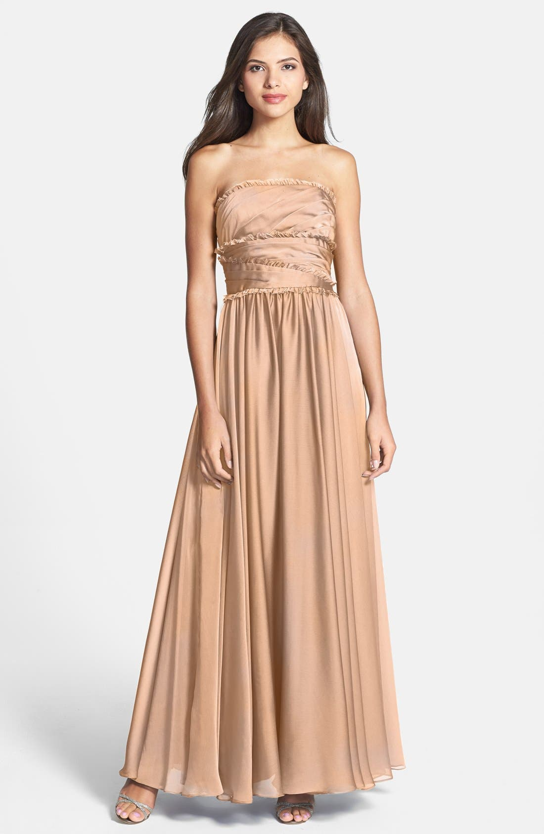 ML Monique Lhuillier Bridesmaids Strapless Chiffon Gown,                             Main thumbnail 7, color,