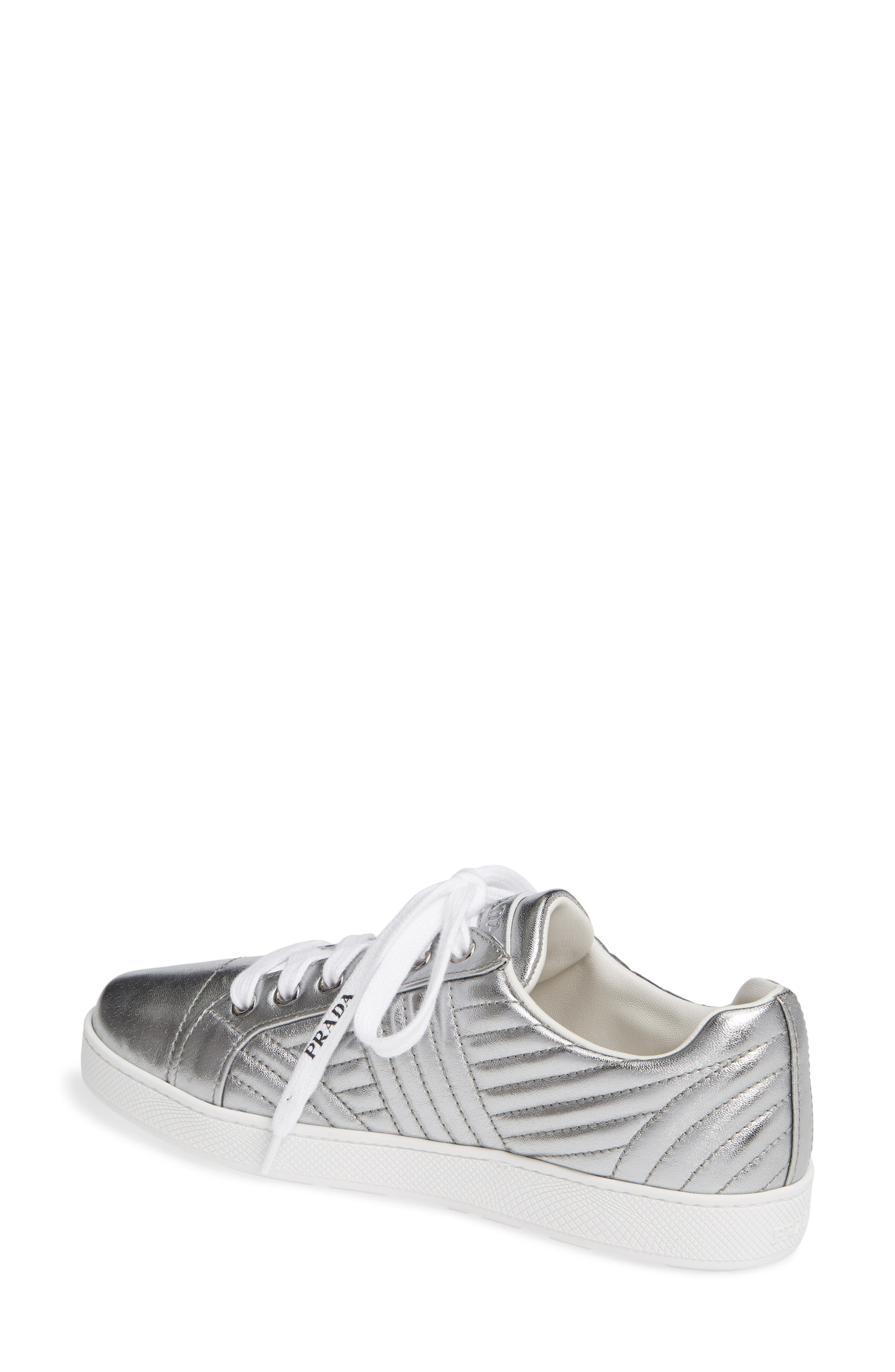 Quilted Leather Sneaker,                             Alternate thumbnail 2, color,                             SILVER
