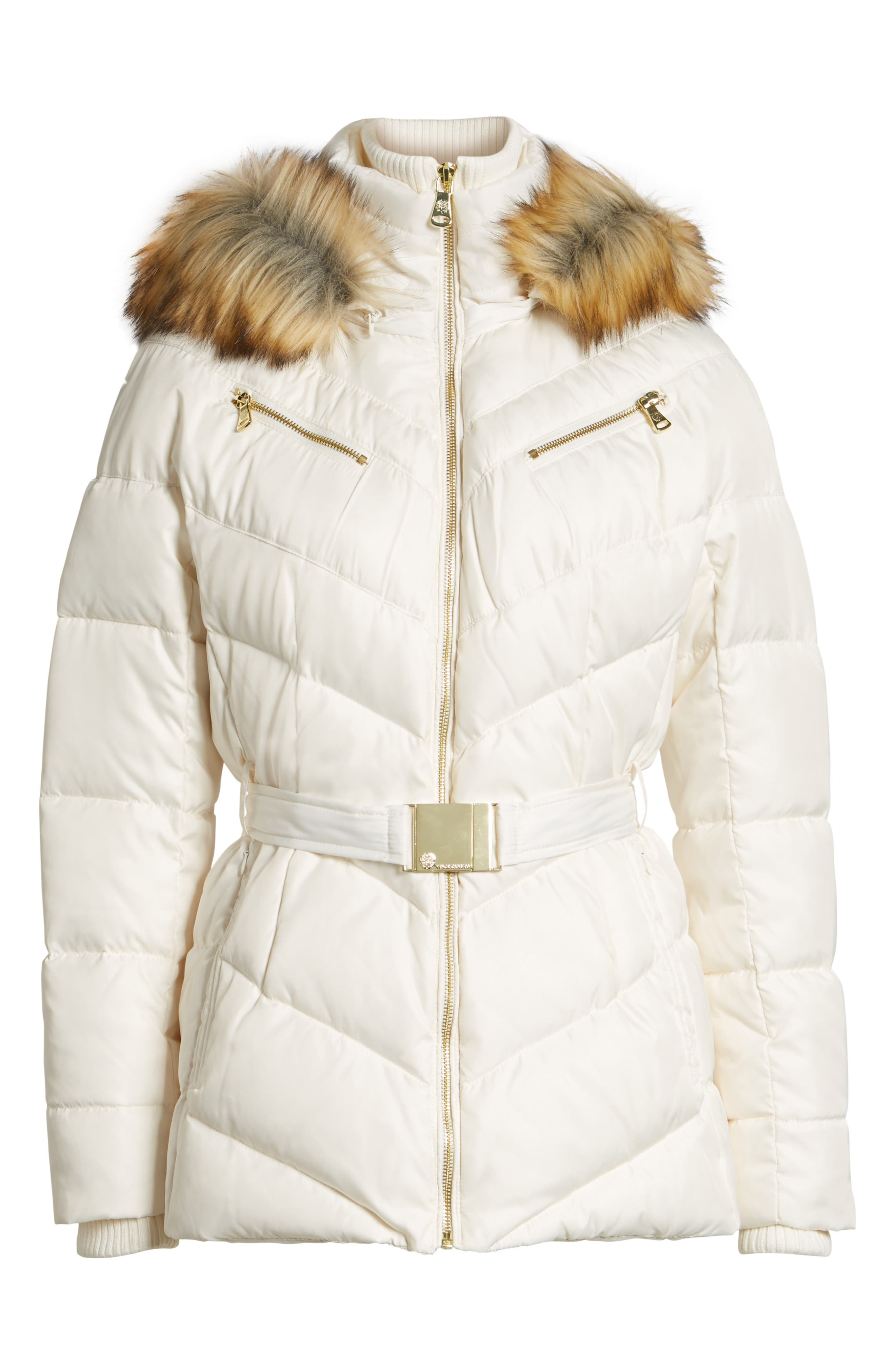 Belted Down & Feather Fill Coat with Faux Fur Trim Hood,                             Alternate thumbnail 18, color,