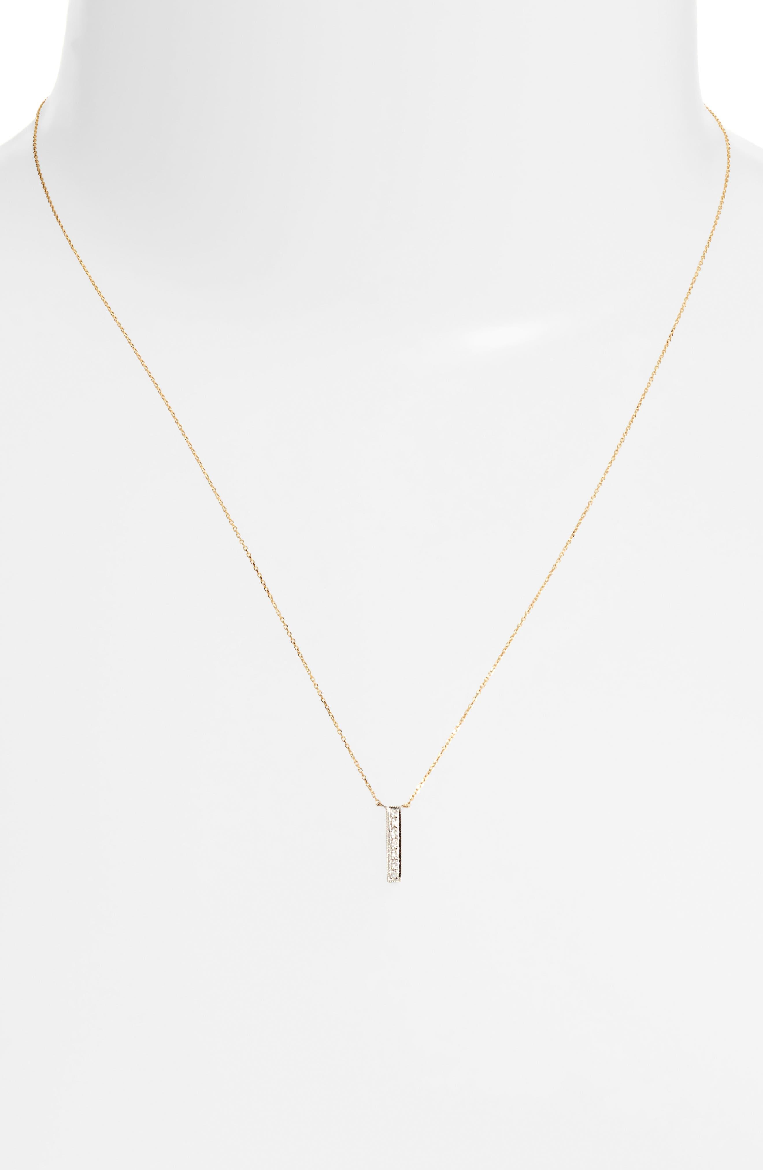 Sylvie Rose Vertical Bar Diamond Pendant Necklace,                             Alternate thumbnail 3, color,                             YELLOW GOLD