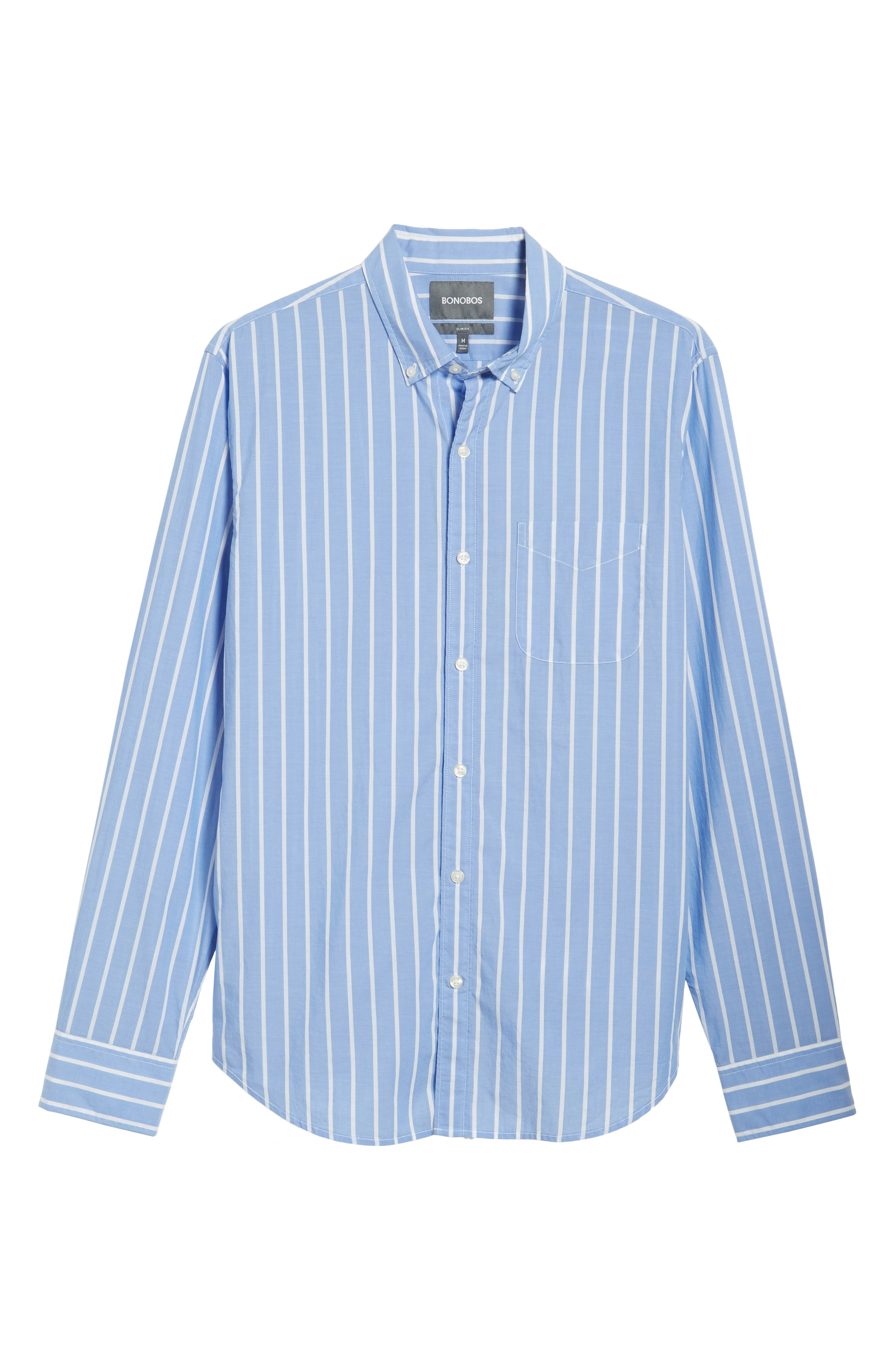 Summerweight Slim Fit Stripe Sport Shirt,                             Alternate thumbnail 5, color,                             100