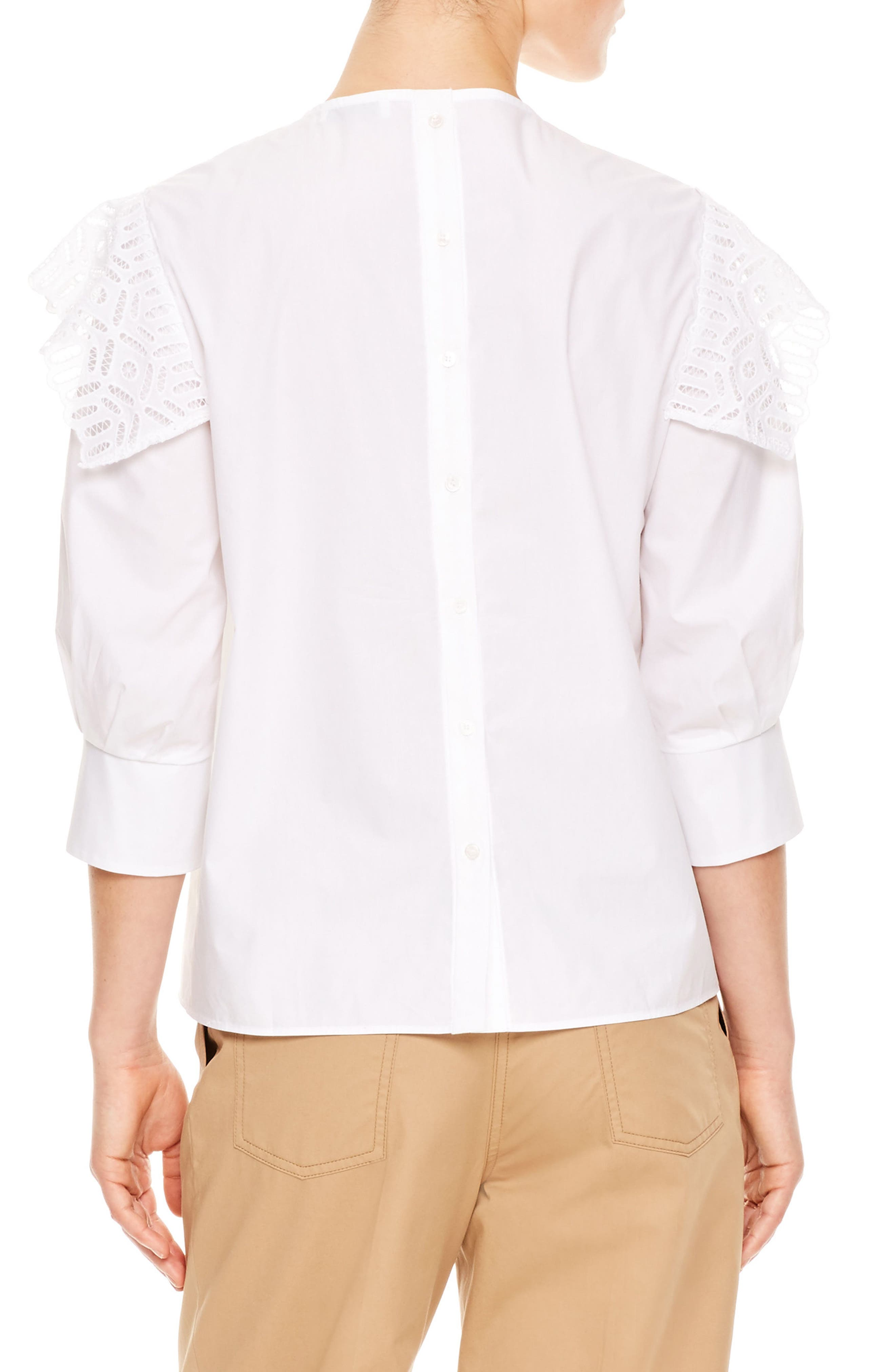 Lace Popover Cotton Top,                             Alternate thumbnail 2, color,                             100
