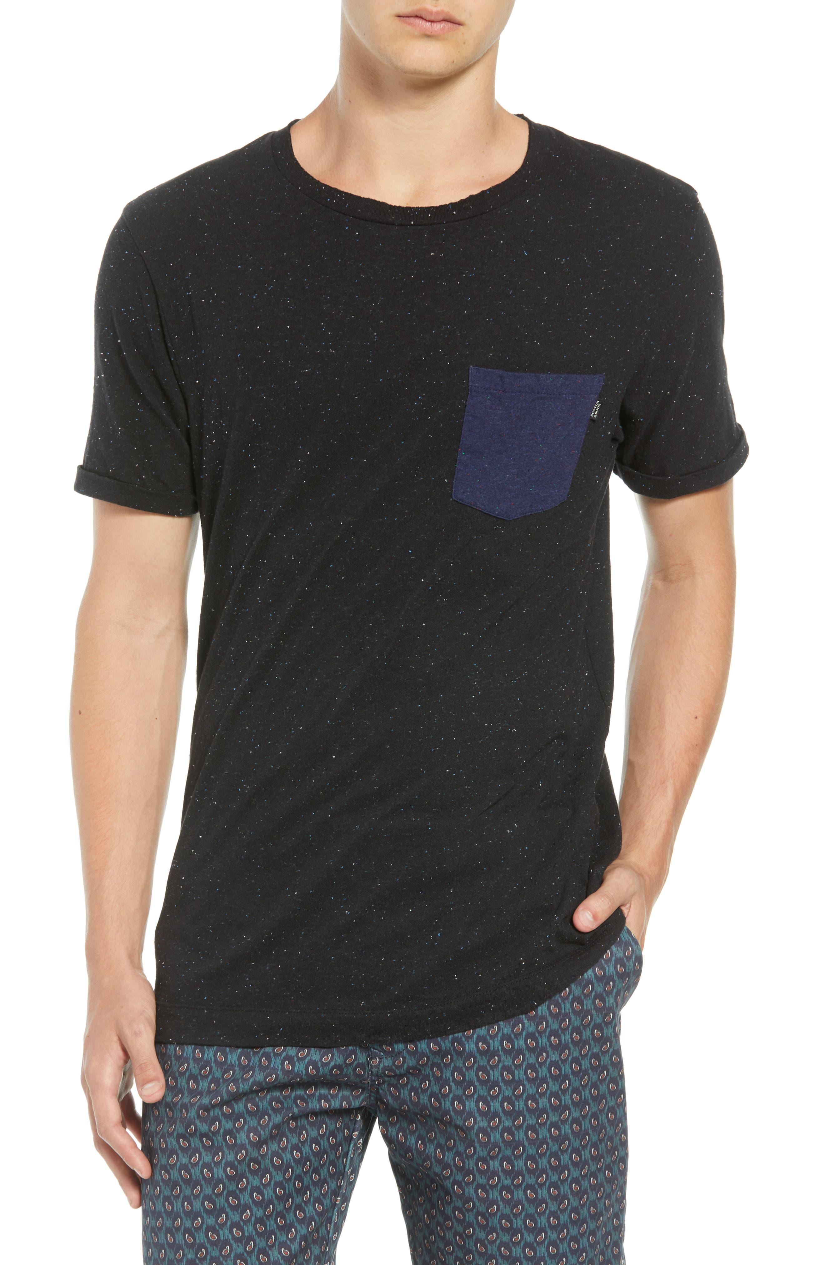 Nep Jersey Pocket T-Shirt,                         Main,                         color, BLACK MELANGE