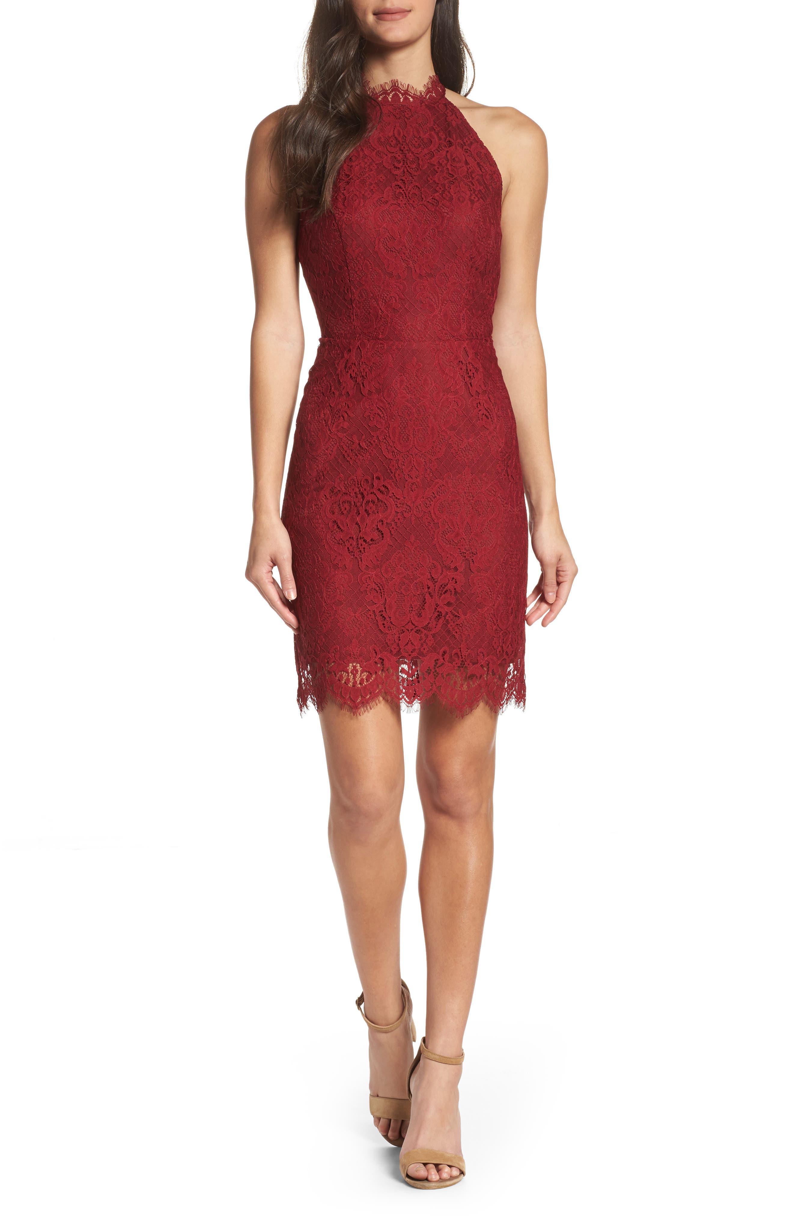 Cherie Lace Halter Sheath Dress,                             Main thumbnail 2, color,