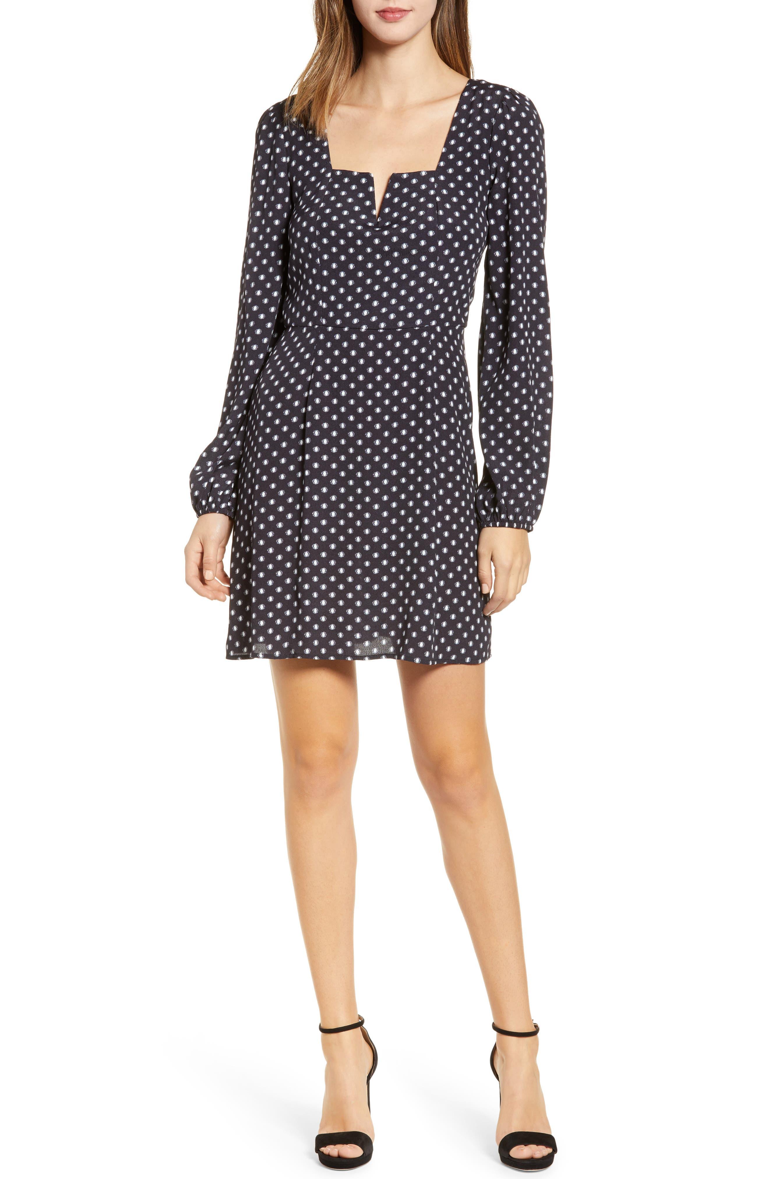 Printed A-Line Dress, Main, color, BLACK/ WHITE DOT