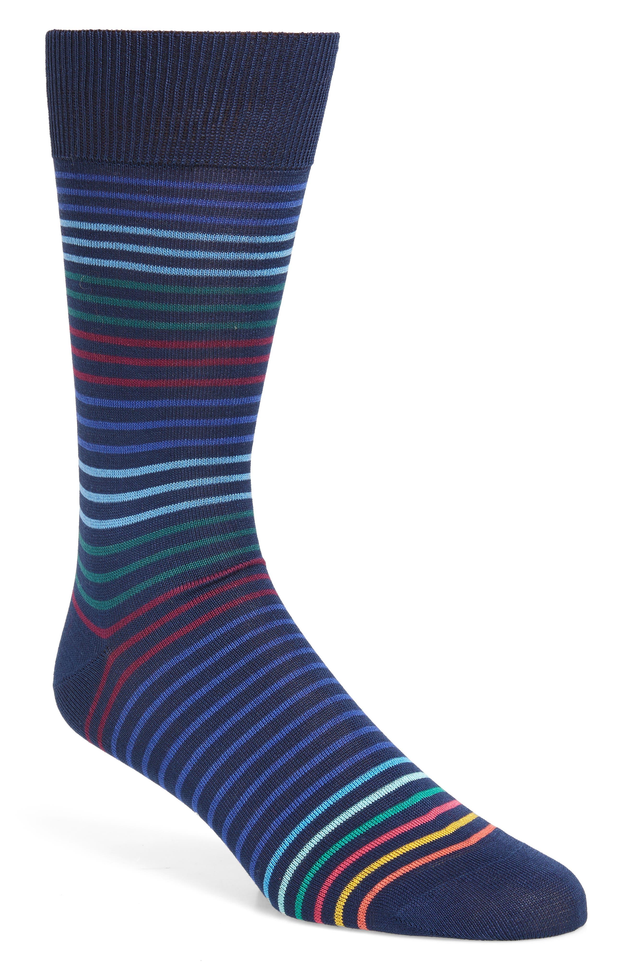 Peko Stripe Socks,                         Main,                         color, BLUE MULTI