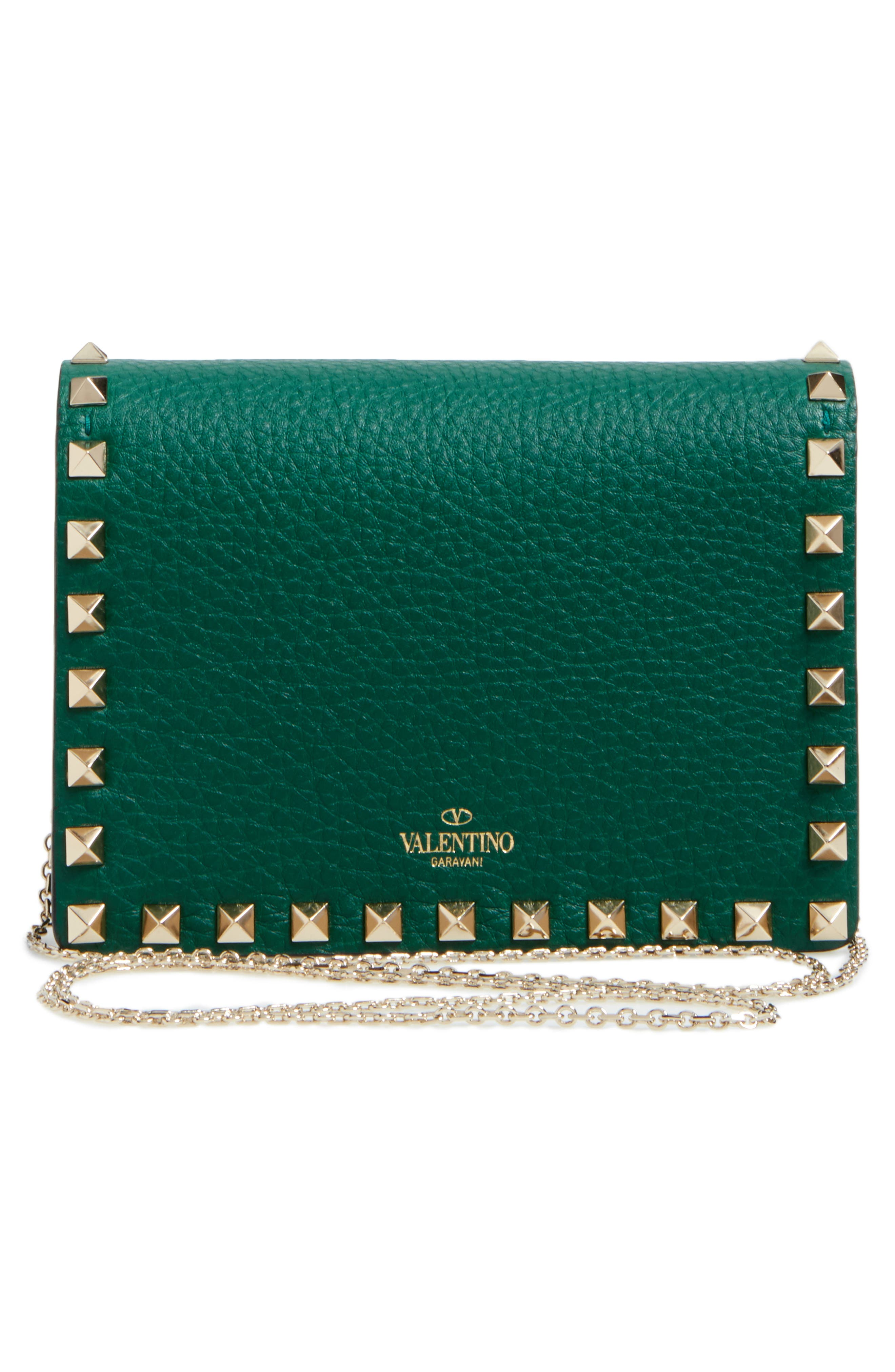 Rockstud Leather Wallet on a Chain,                             Alternate thumbnail 9, color,