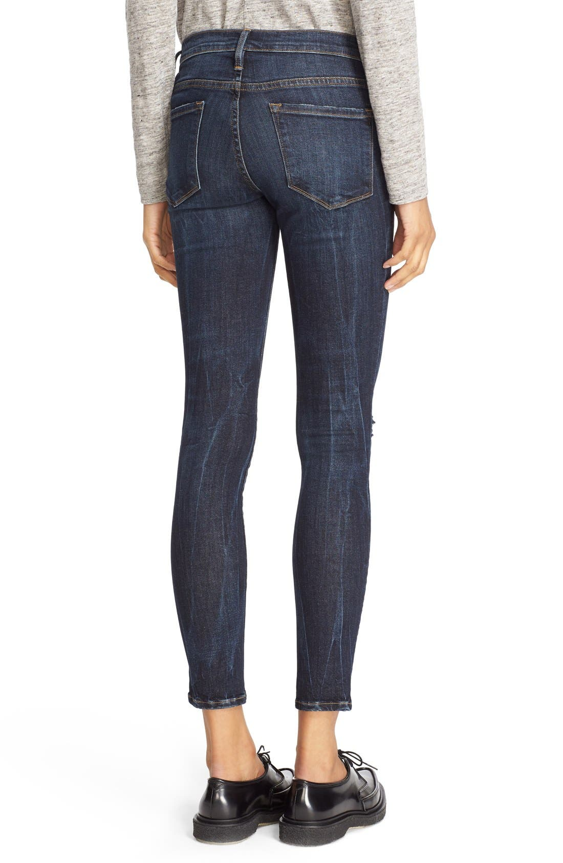 FRAME,                             'Le Skinny' Ripped Crop Jeans,                             Alternate thumbnail 4, color,                             401