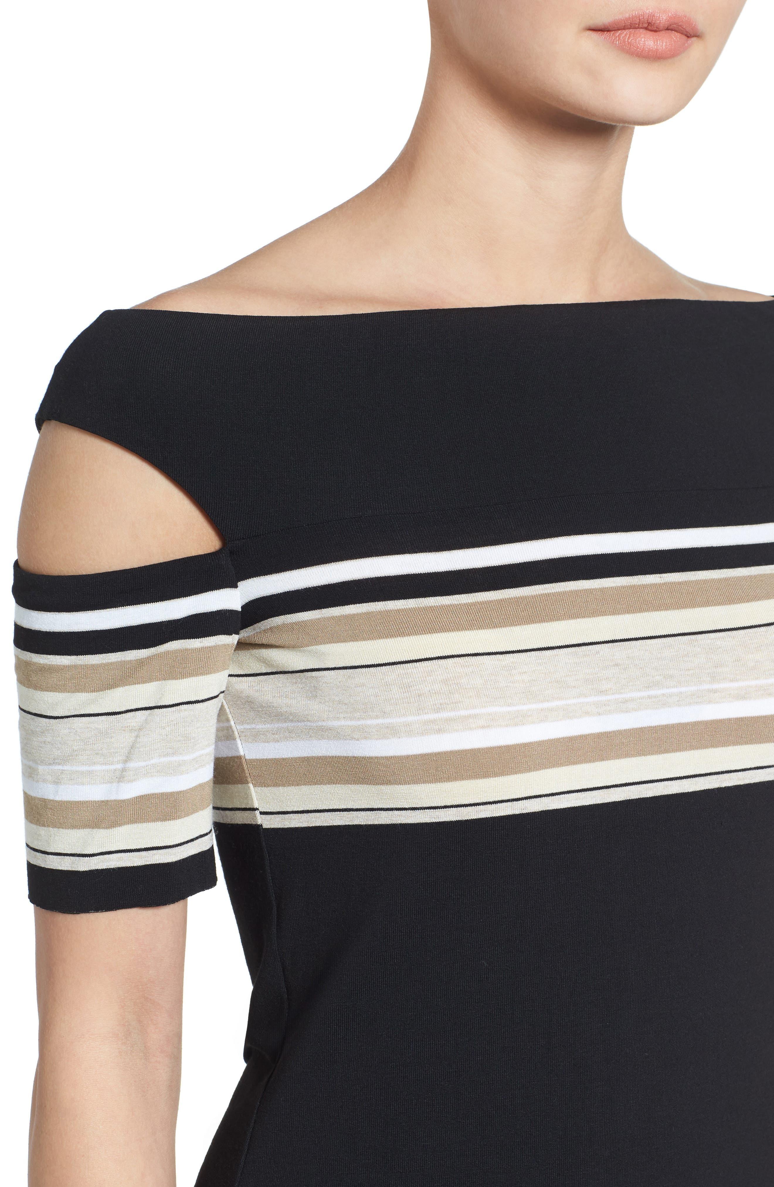 Stripe Off the Shoulder Top,                             Alternate thumbnail 4, color,                             001