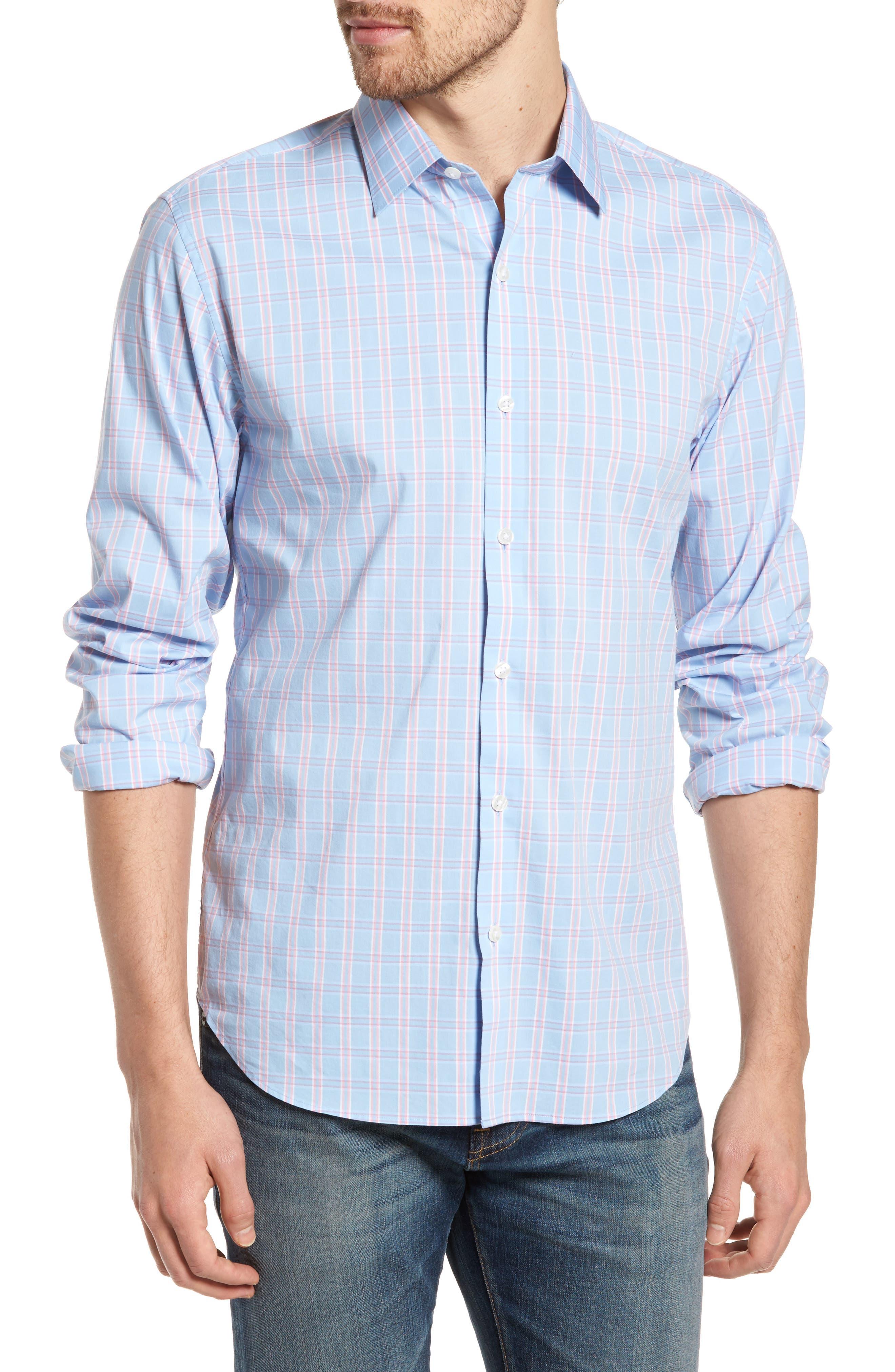 Unbutton Down 2.0 Slim Fit Check Sport Shirt,                             Main thumbnail 1, color,