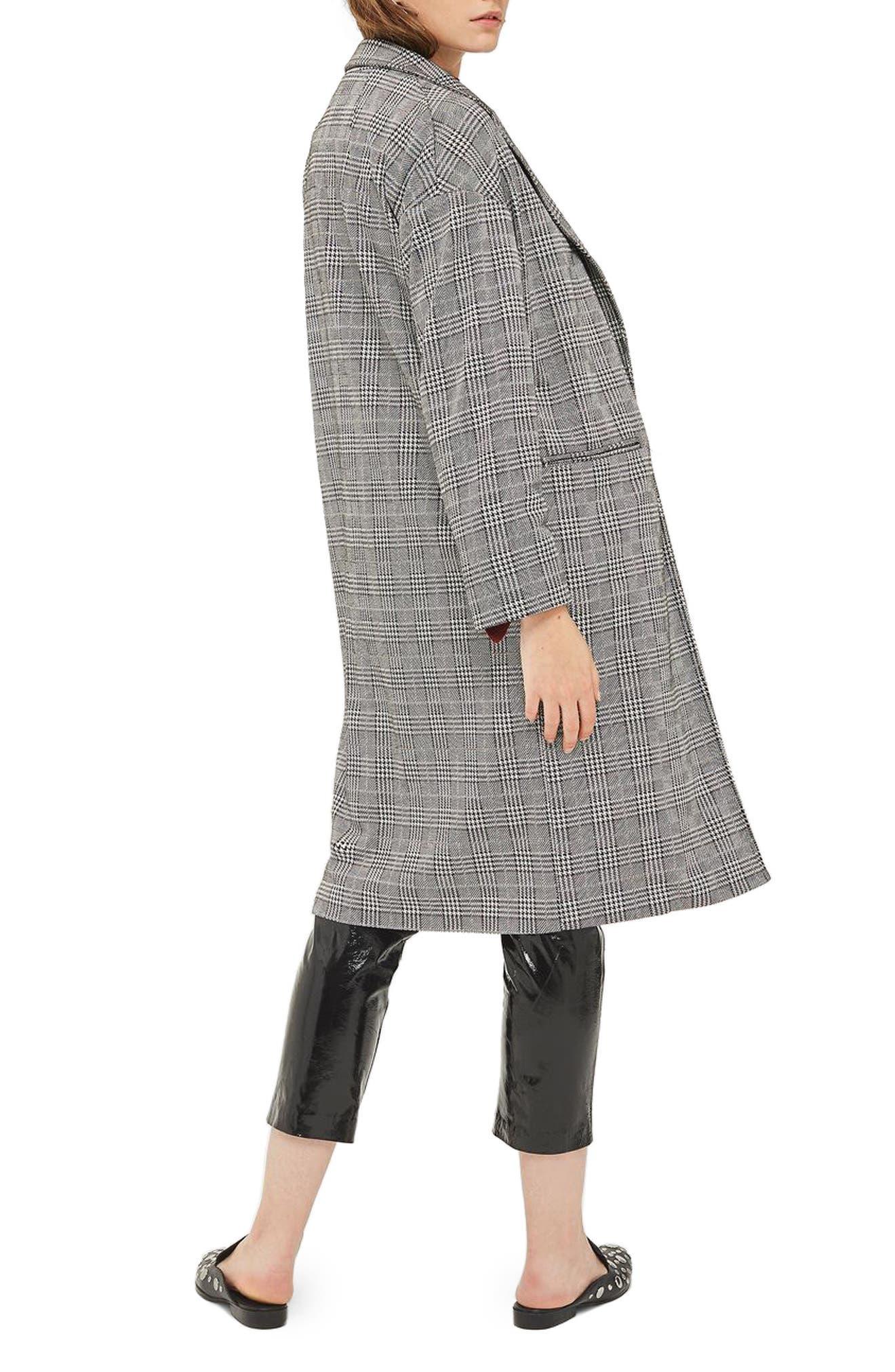 Checkered Pow Jersey Coat,                             Alternate thumbnail 2, color,                             001