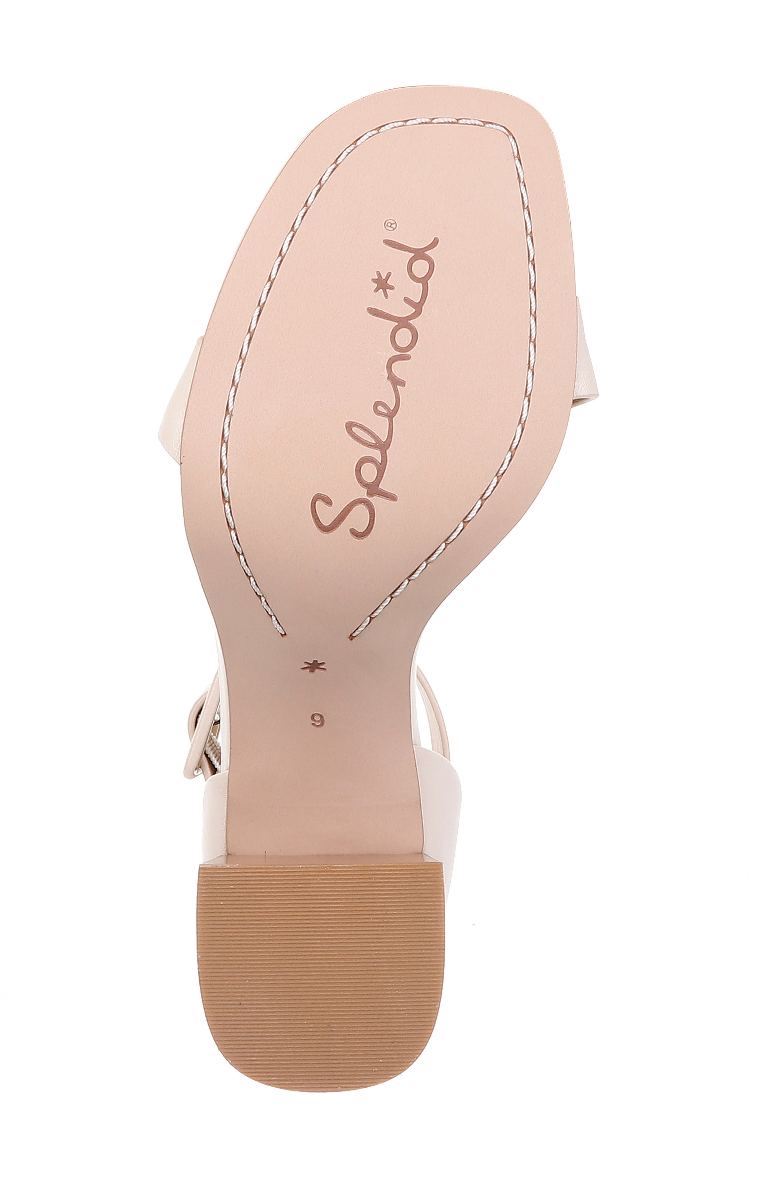 Block Heel Sandal,                             Alternate thumbnail 6, color,                             CREAM LEATHER