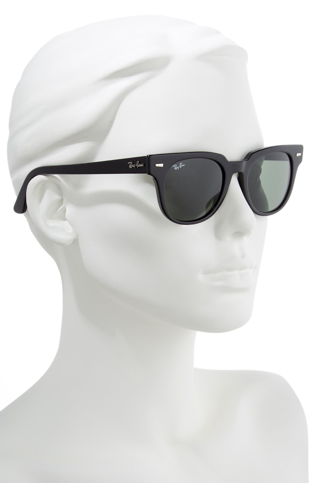 Meteor 50mm Wayfarer Sunglasses,                             Alternate thumbnail 2, color,                             BLACK SOLID