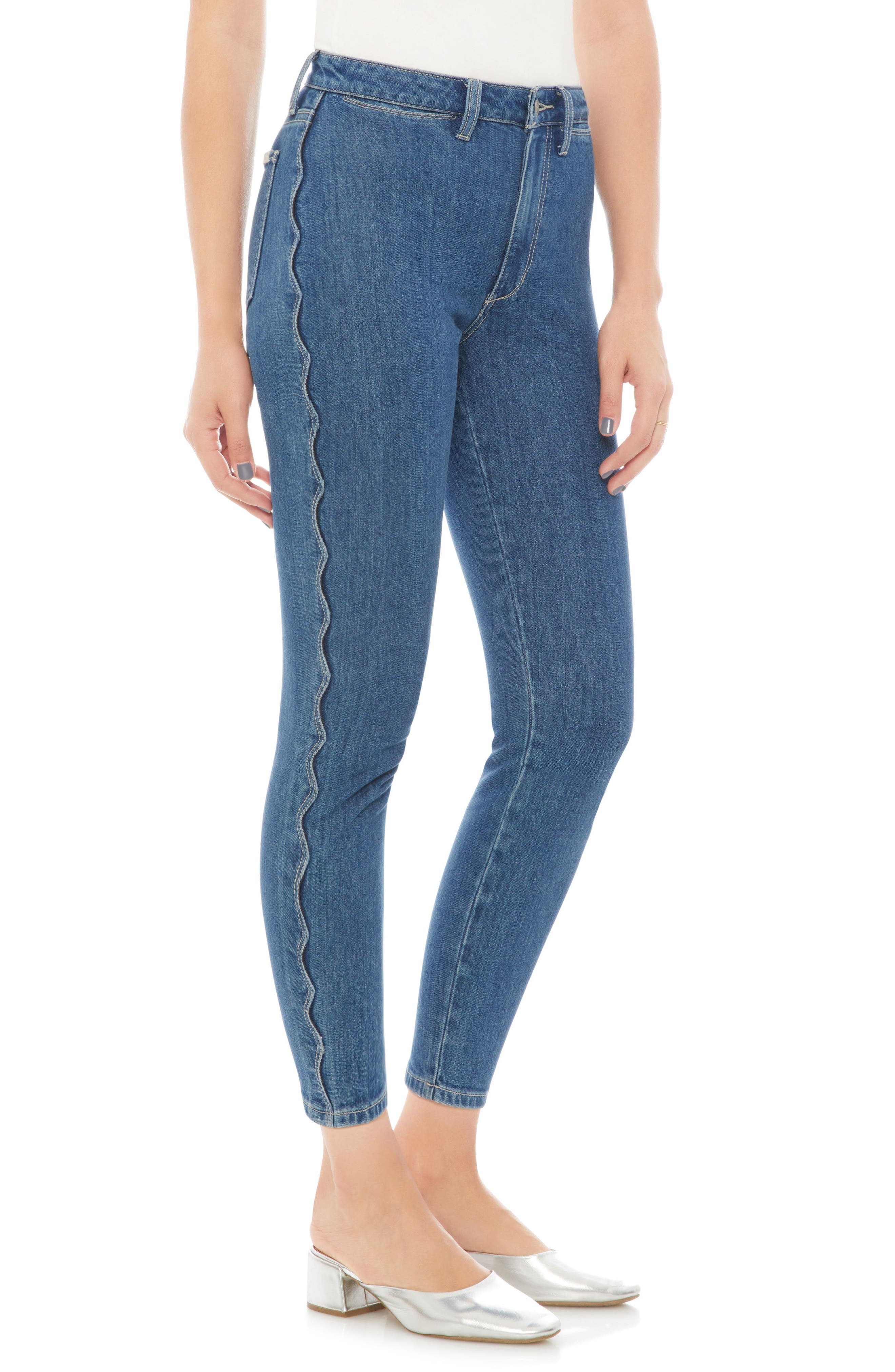 Charlie High Waist Crop Skinny Jeans,                             Alternate thumbnail 3, color,                             DOLLIE