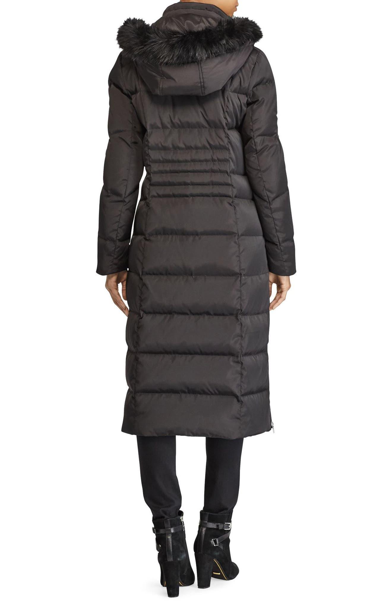 Long Down Coat with Faux Fur Trim,                             Alternate thumbnail 2, color,                             BLACK
