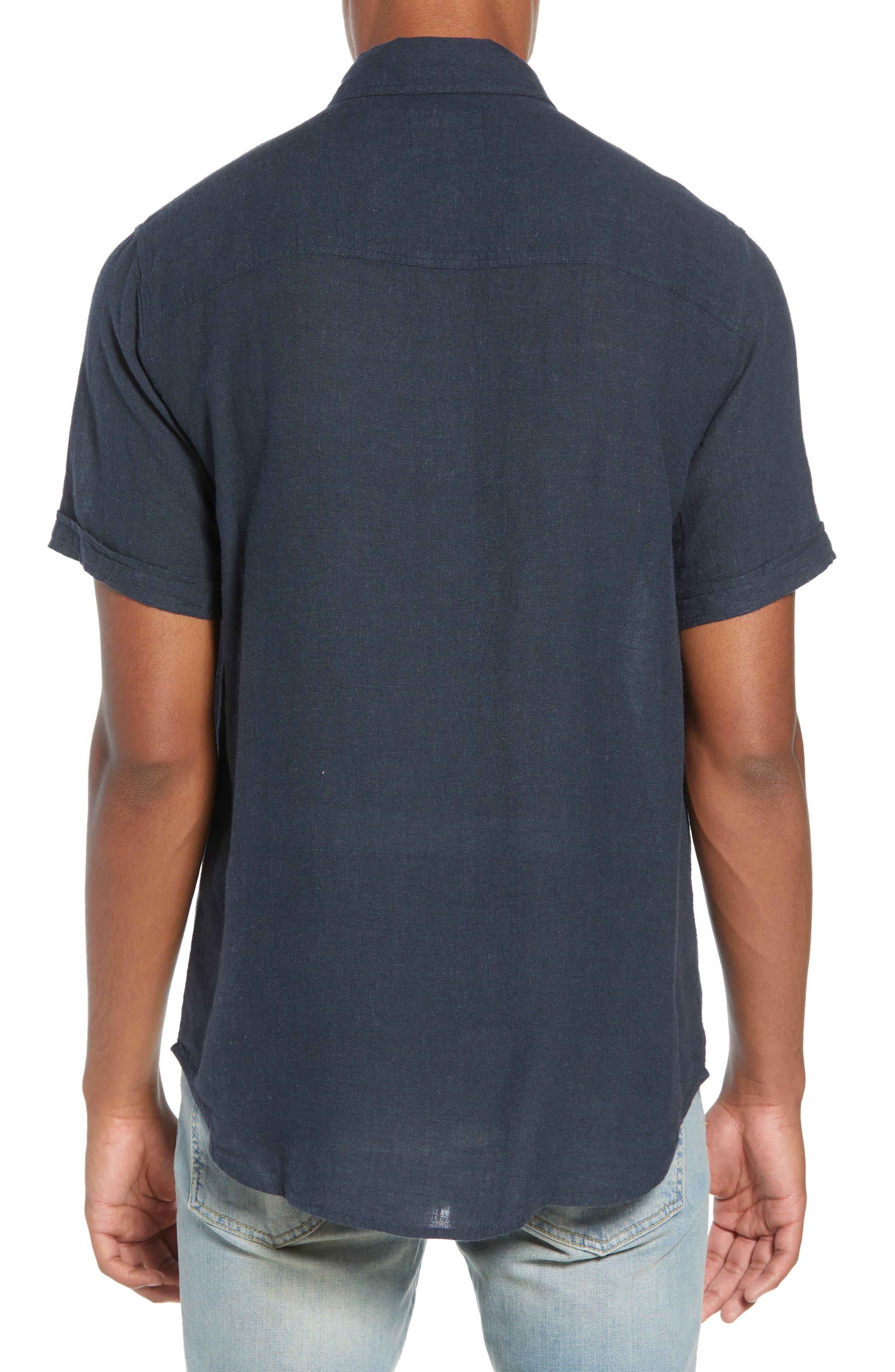 Carson Regular Fit Stripe Woven Shirt,                             Alternate thumbnail 3, color,                             NAVY/WHITE/GREY STRIPE