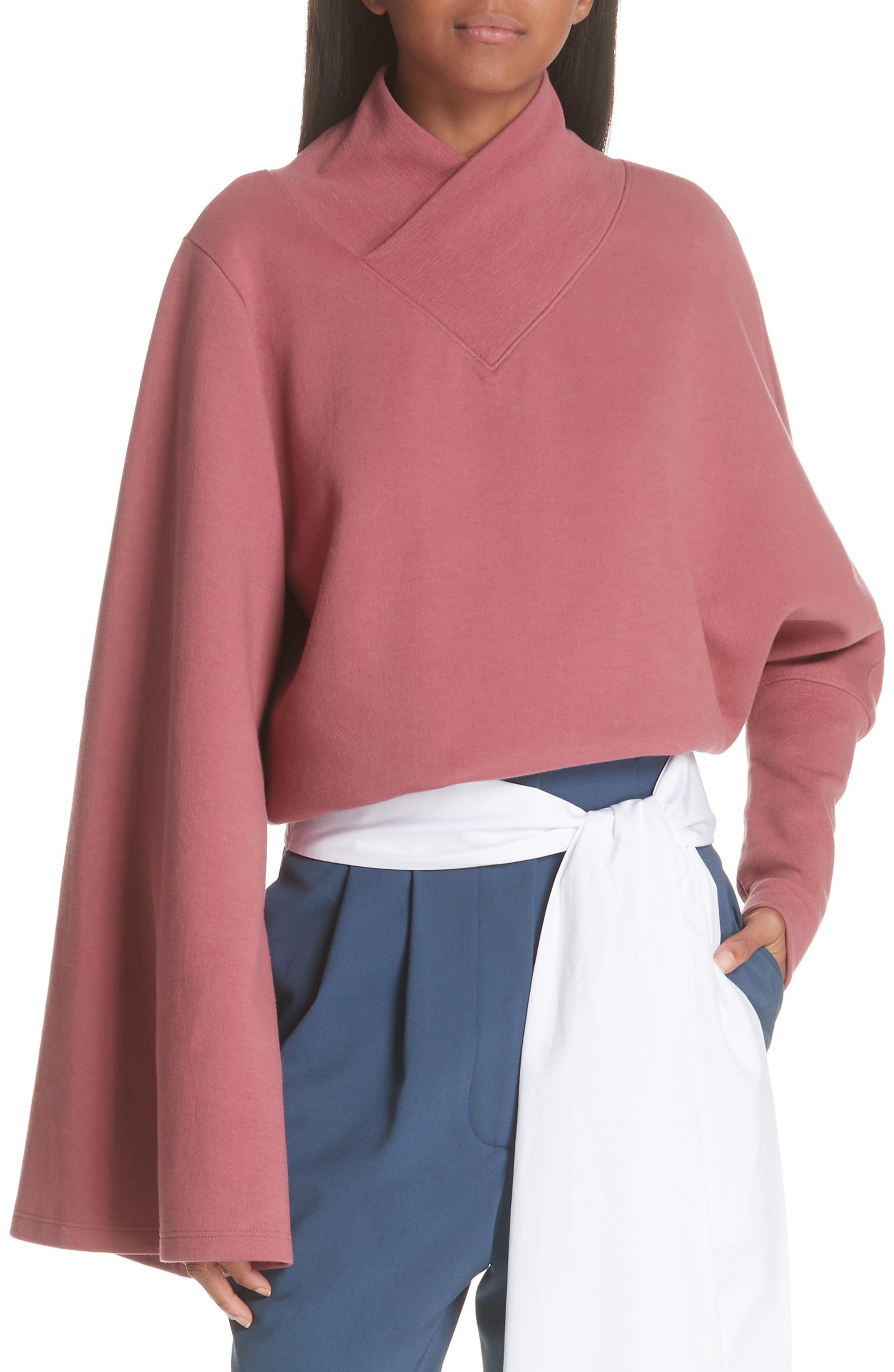 Unbalanced Sweatshirt,                         Main,                         color, BURGUNDY