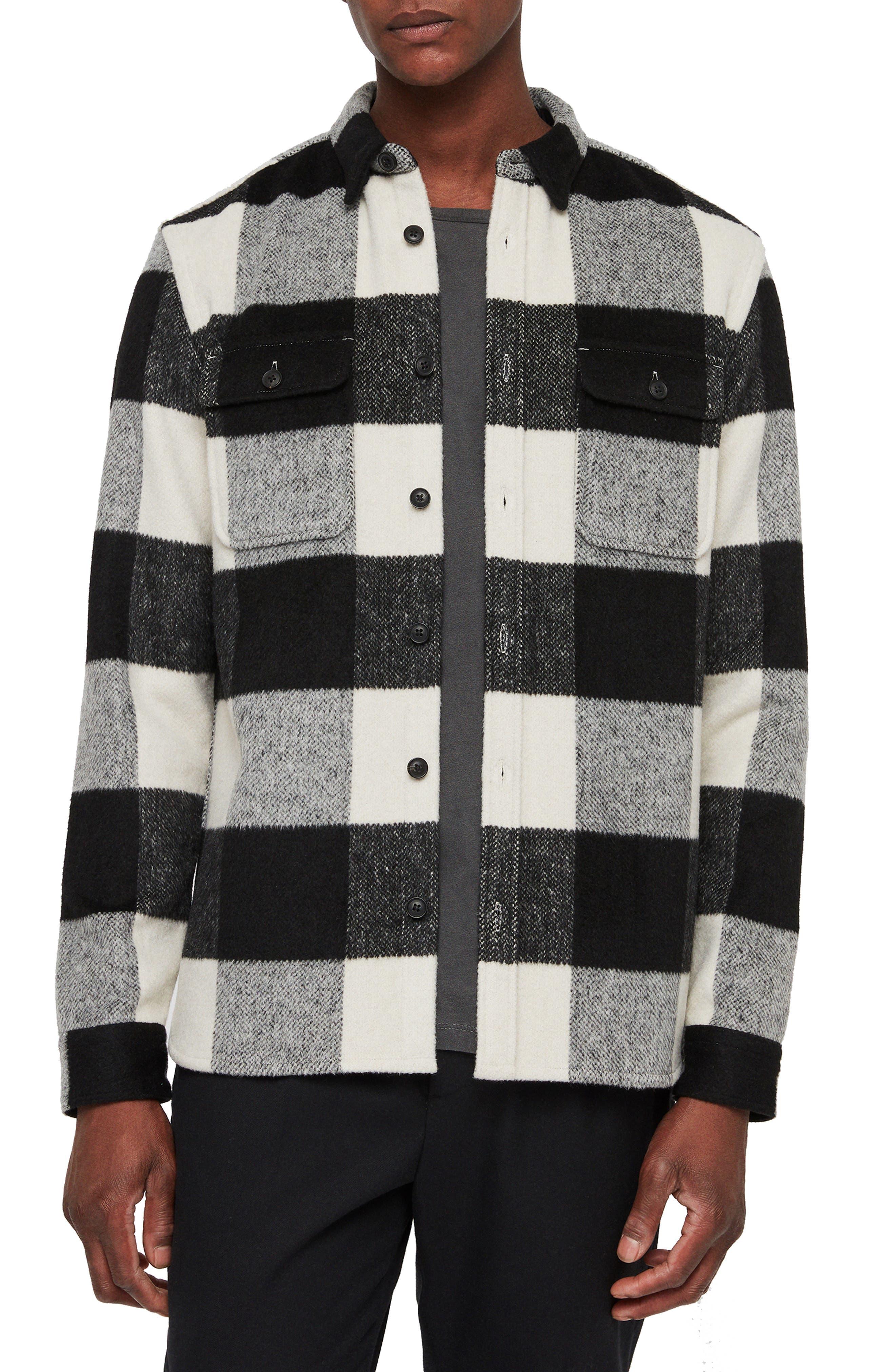 Laona Regular Fit Check Flannel Sport Shirt,                             Main thumbnail 1, color,                             ECRU/ BLACK