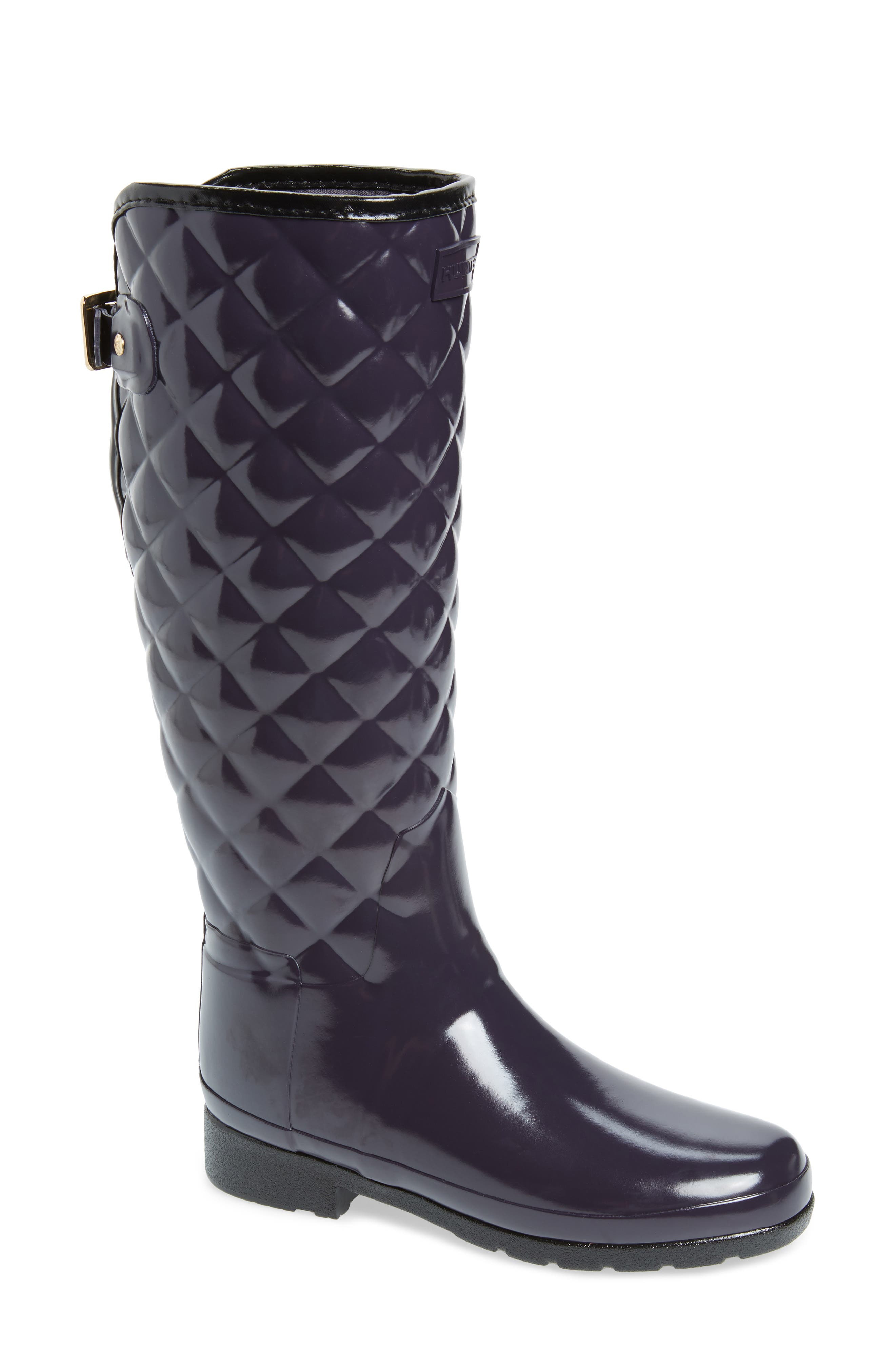 Original Refined High Gloss Quilted Waterproof Rain Boot,                             Main thumbnail 1, color,                             AUBERGINE