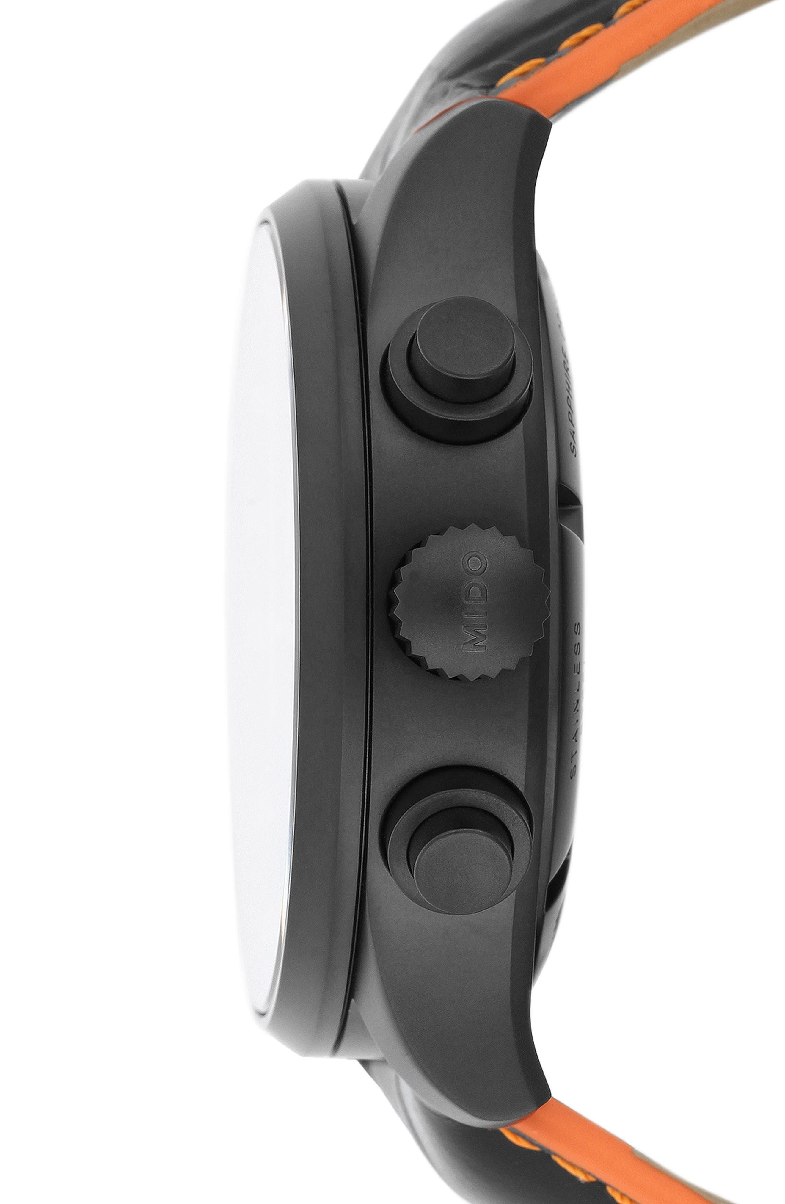 Multifort Automatic Chronograph Leather Strap Watch, 44mm,                             Alternate thumbnail 3, color,                             BLACK/ ORANGE