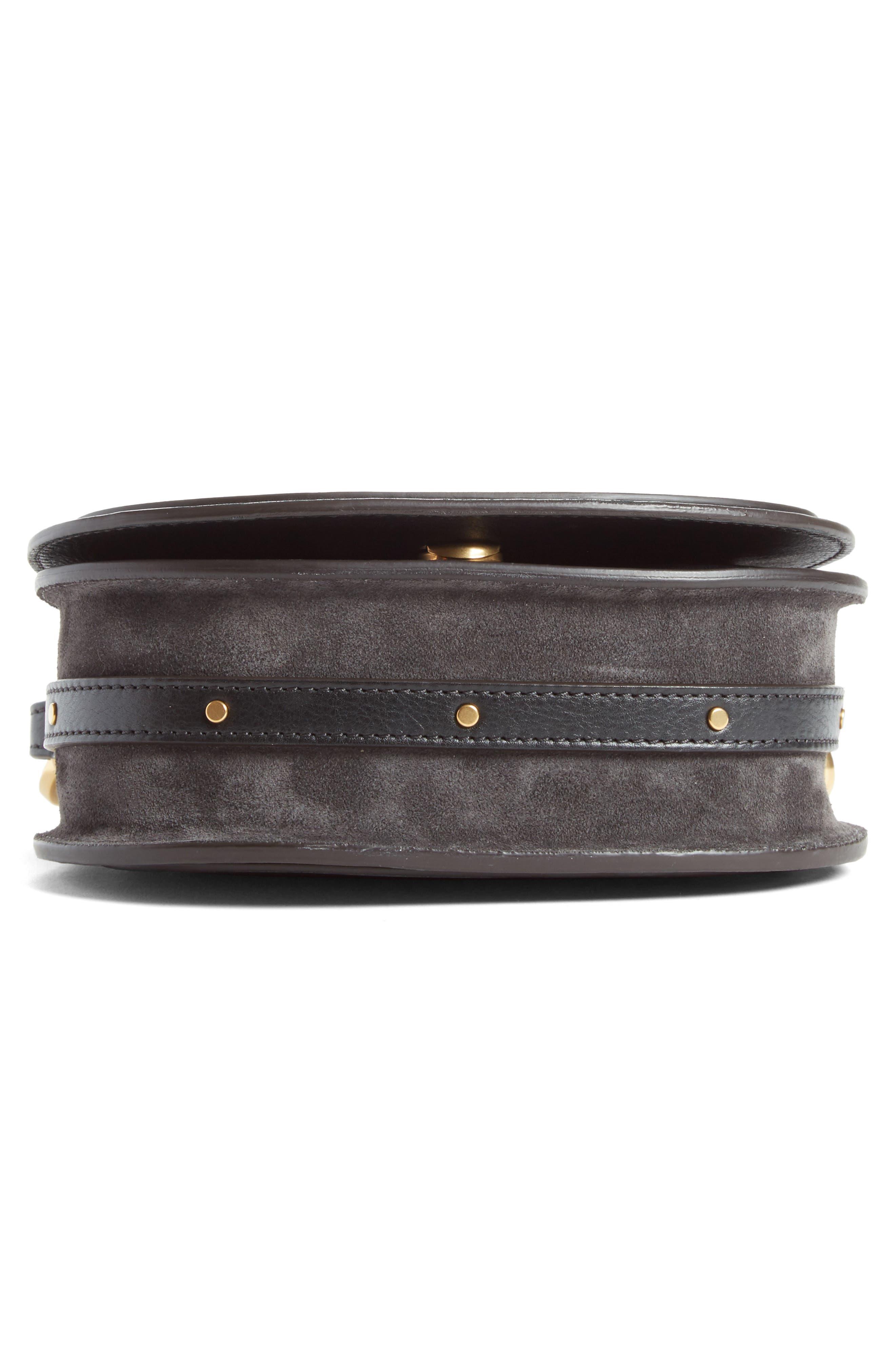 Small Nile Calfskin Leather Bracelet Bag,                             Alternate thumbnail 5, color,                             BLACK