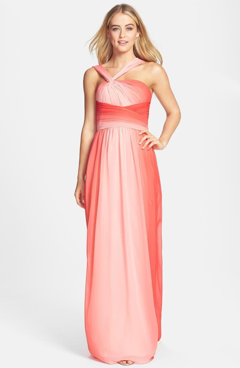 2a6824104f1ed MONIQUE LHUILLIER BRIDESMAIDS ML Monique Lhuillier Bridesmaids Ombré Twist  Shoulder Chiffon Gown, Main, color
