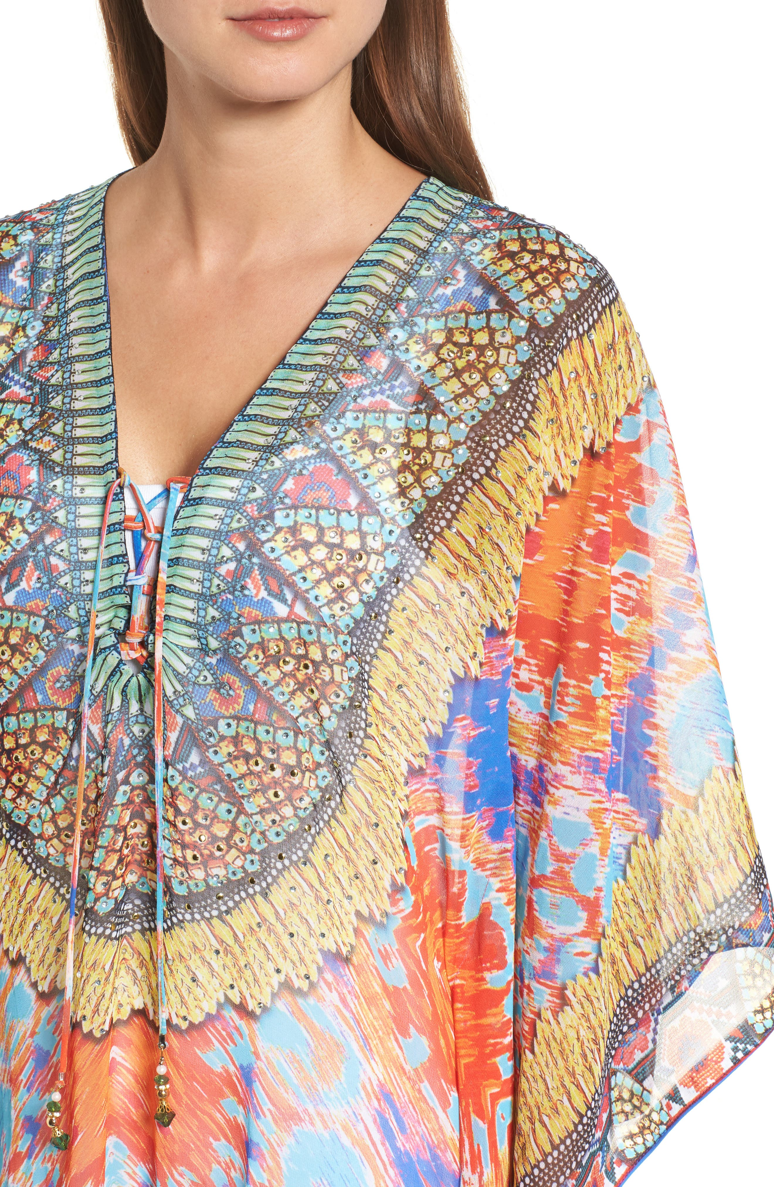 Hamptons Short Kaftan,                             Alternate thumbnail 4, color,                             MULTI COLOR