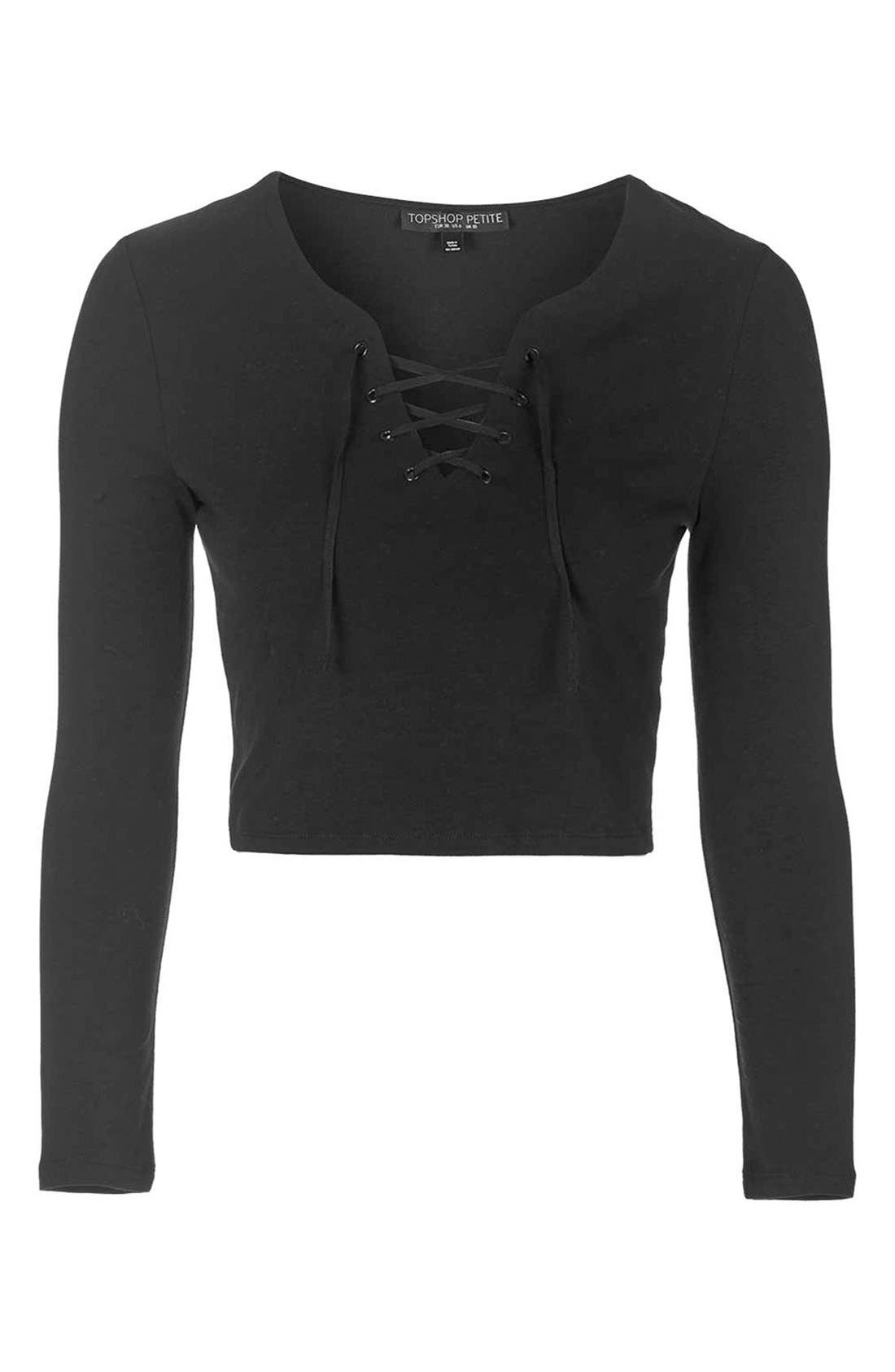 Lace-Up Long Sleeve Top,                             Alternate thumbnail 5, color,                             001