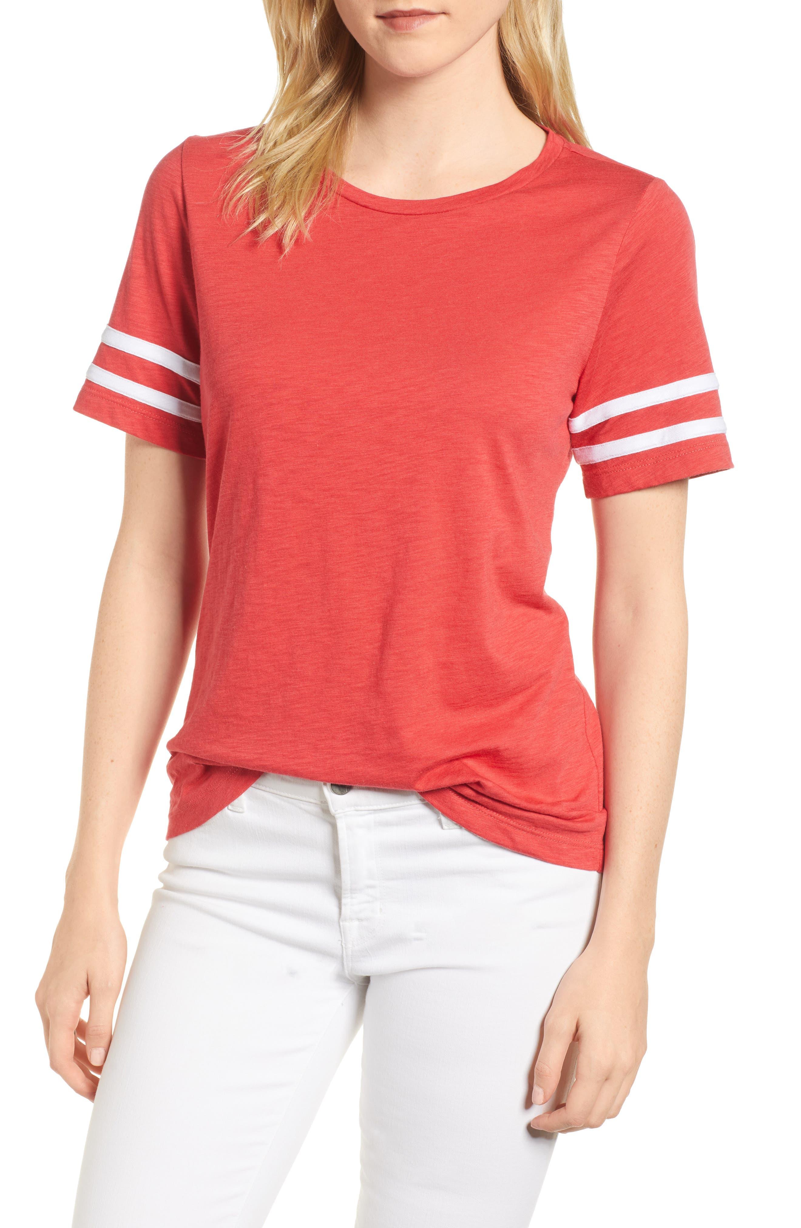 Stripe Sleeve Cotton Blend Athletic Tee,                             Main thumbnail 4, color,